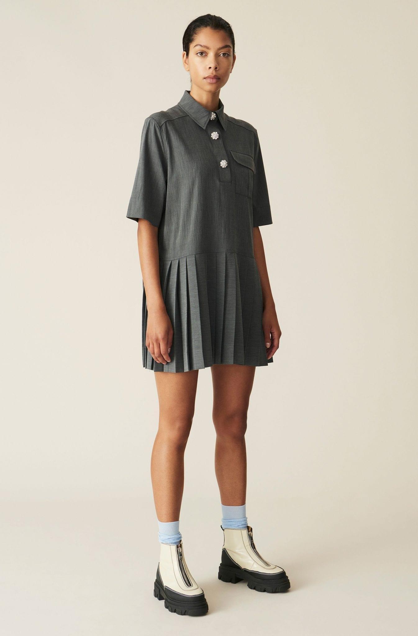 GANNI Melange Suiting Mini Dress