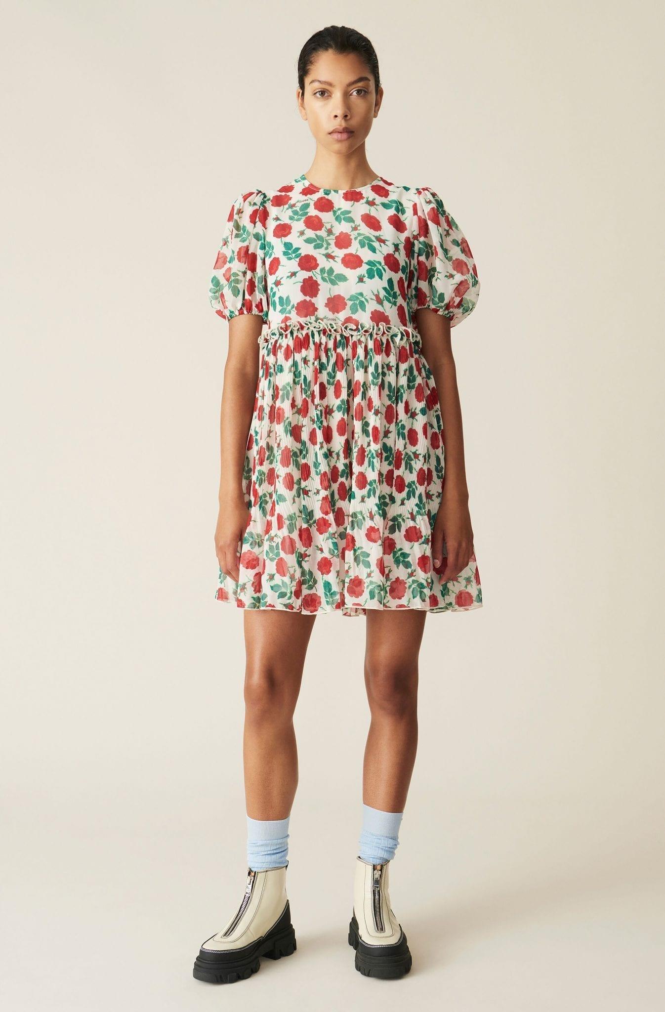 GANNI Pleated Georgette Mini Dress