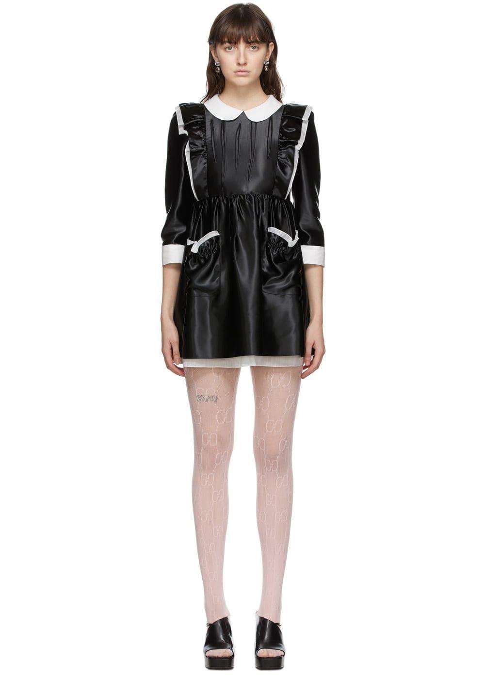 GUCCI Black Satin Ruffled Babydoll Dress