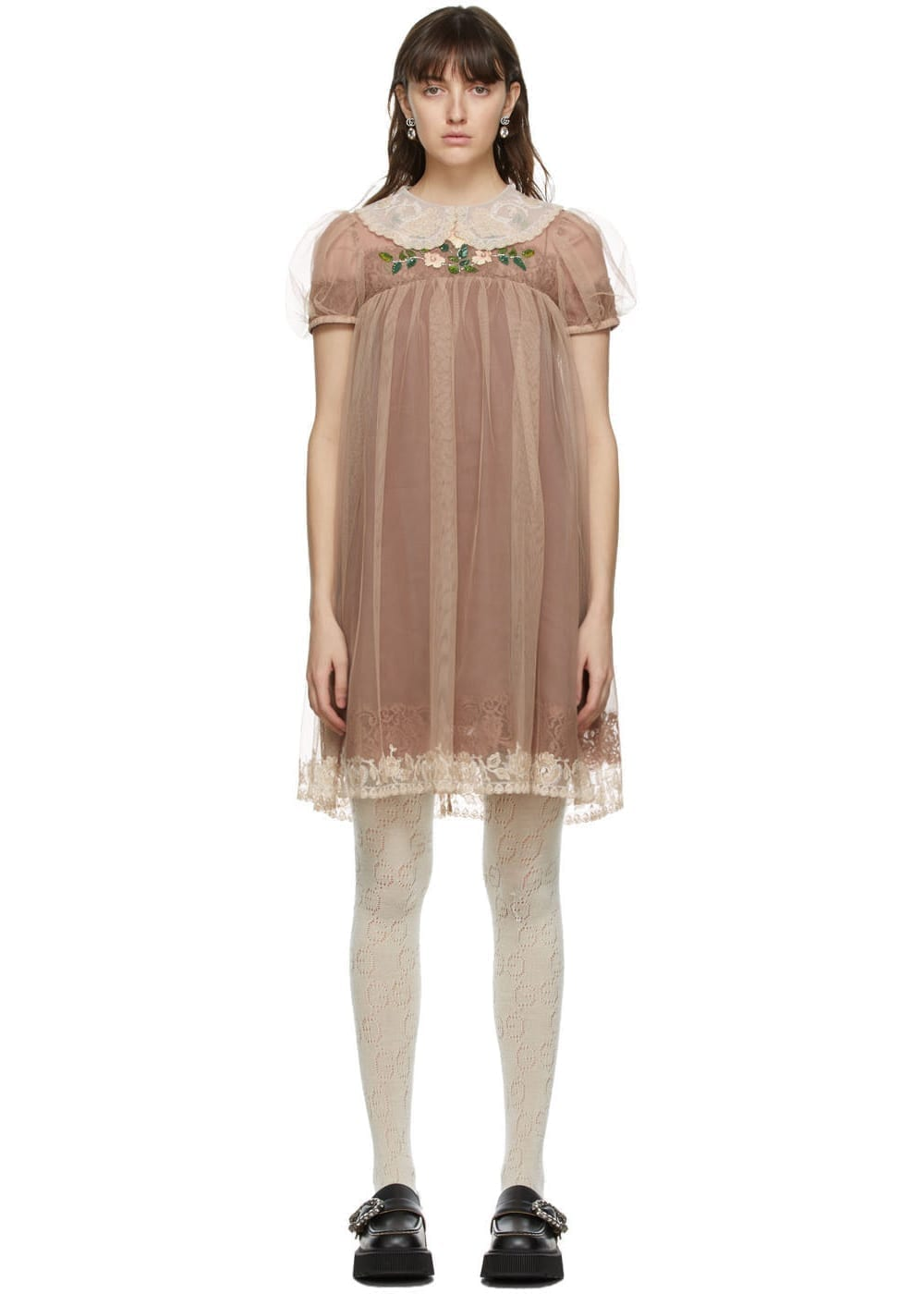 GUCCI Brown Silk Babydoll Dress