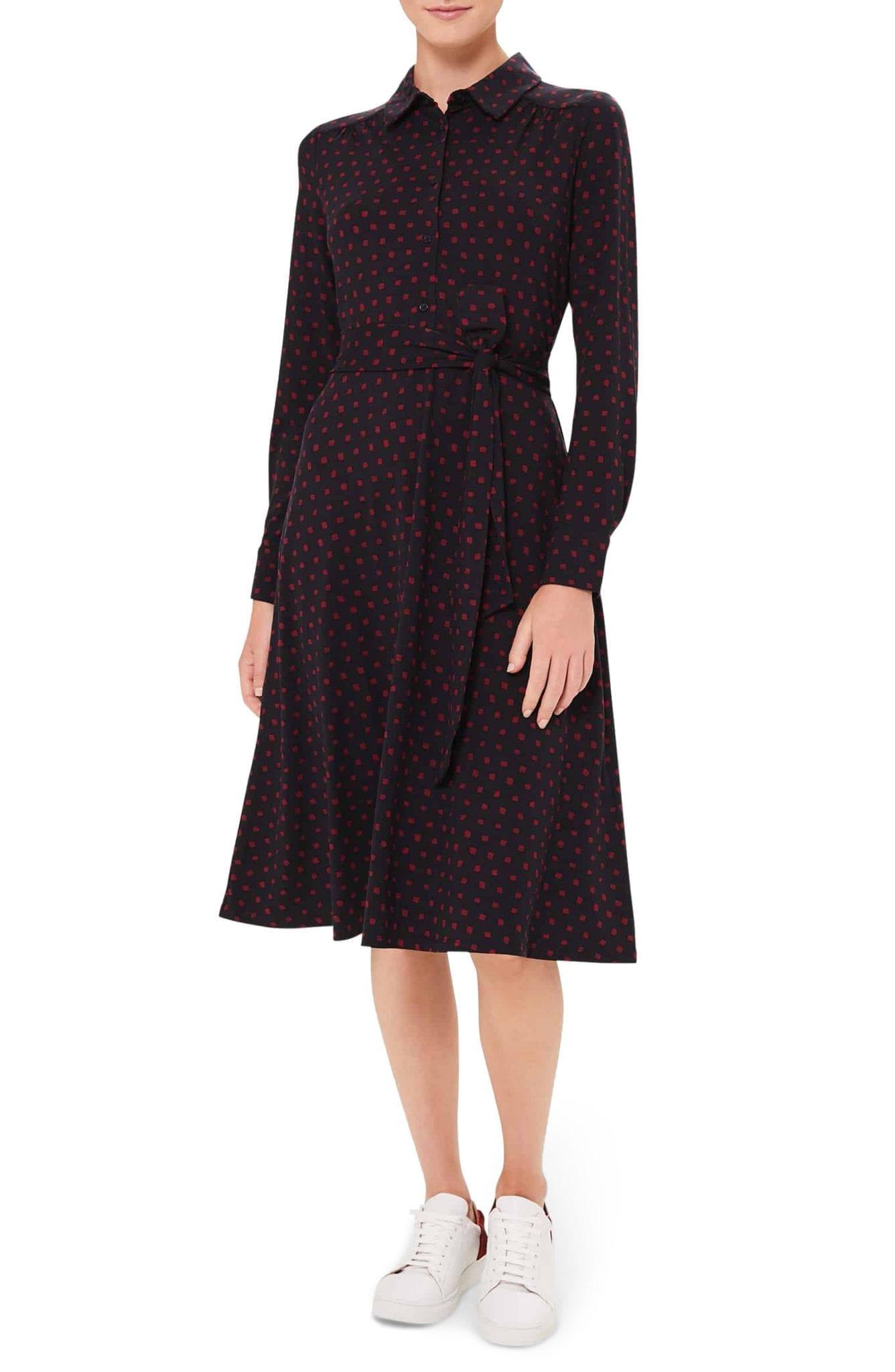 HOBBS Sandrine Button Front Long Sleeve A-Line Dress