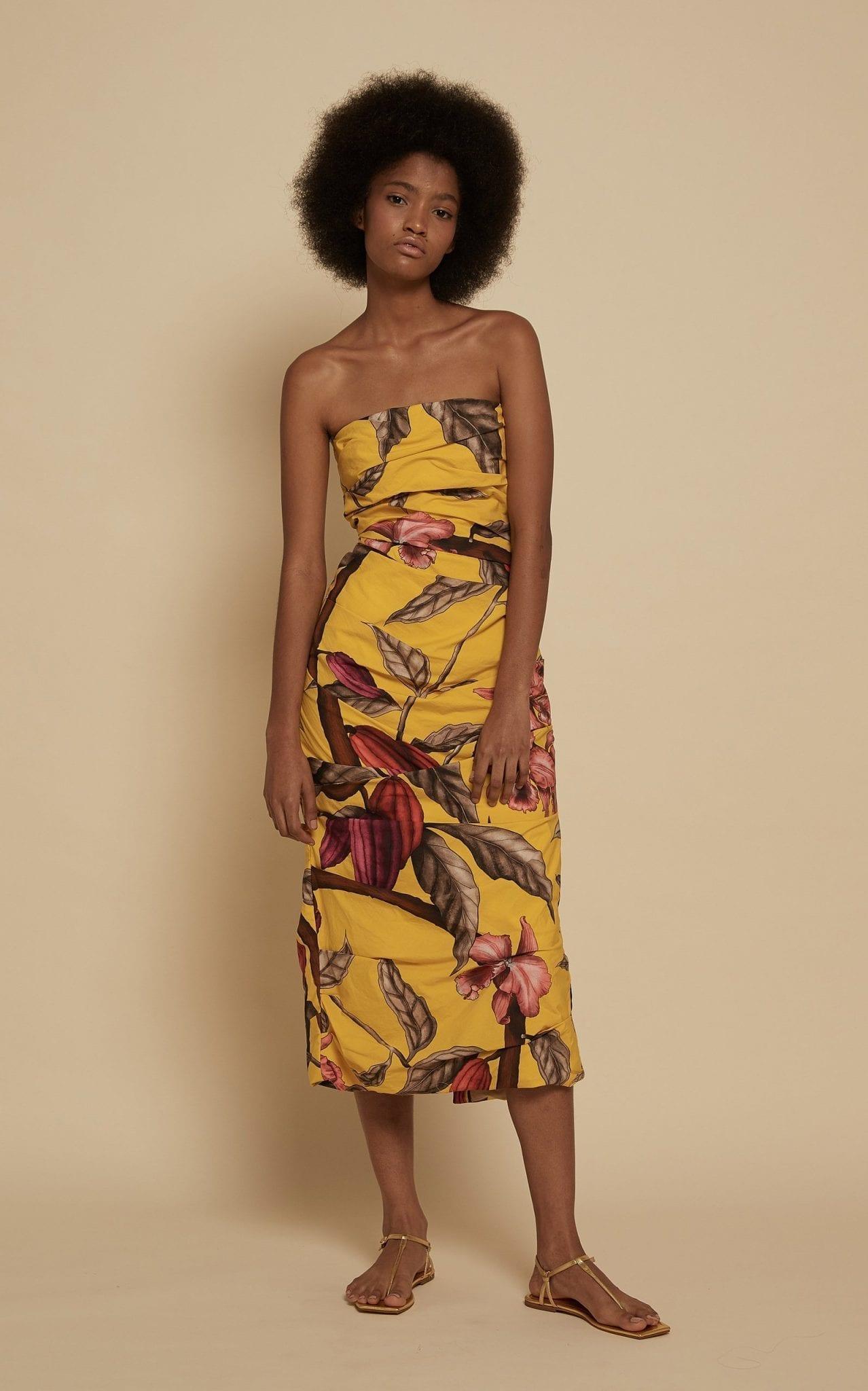 JOHANNA ORTIZ Mixed Emotions Printed Cotton Strapless Midi Dress