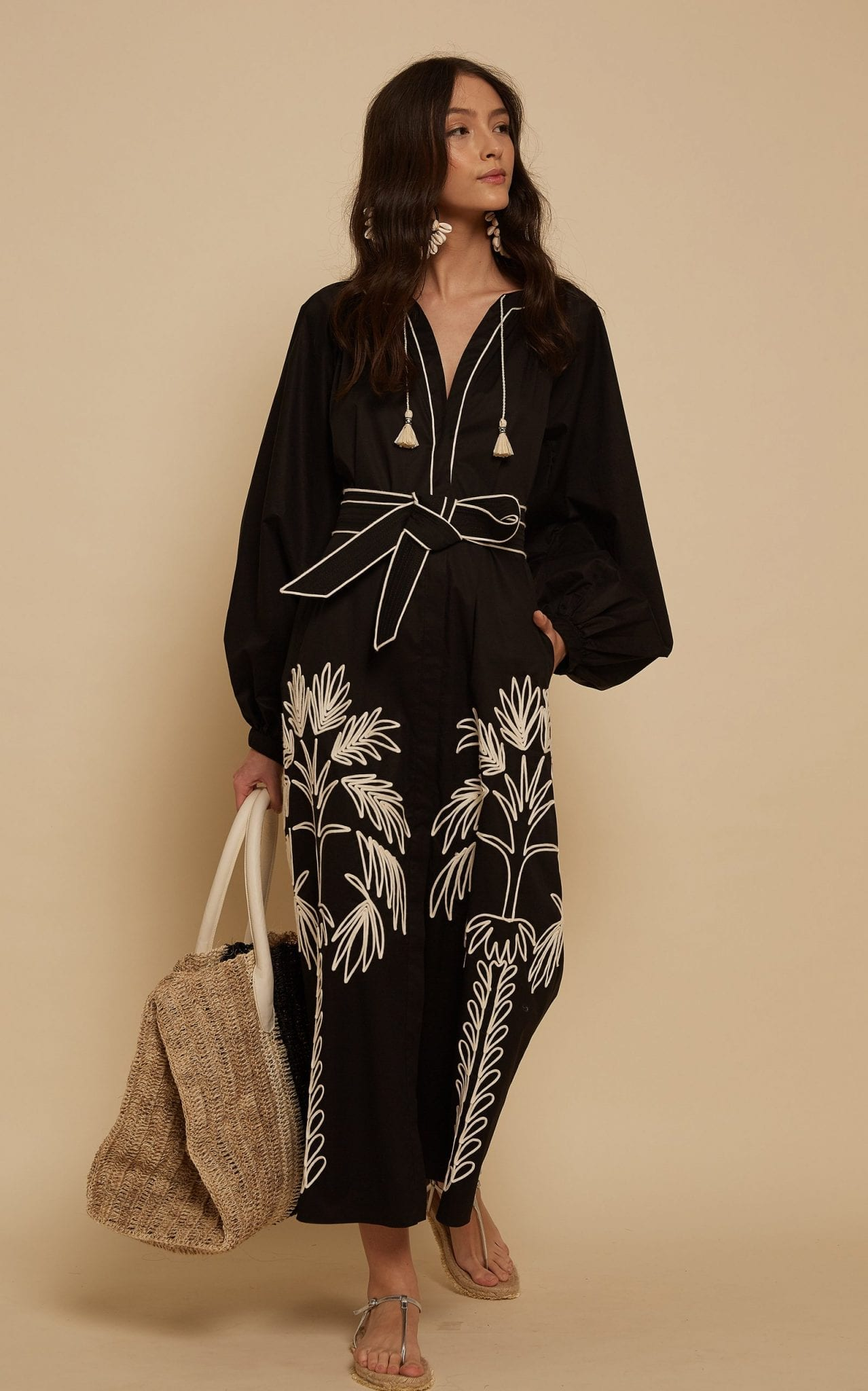 JOHANNA ORTIZ Real Expedition Embroidered Cotton Midi Dress