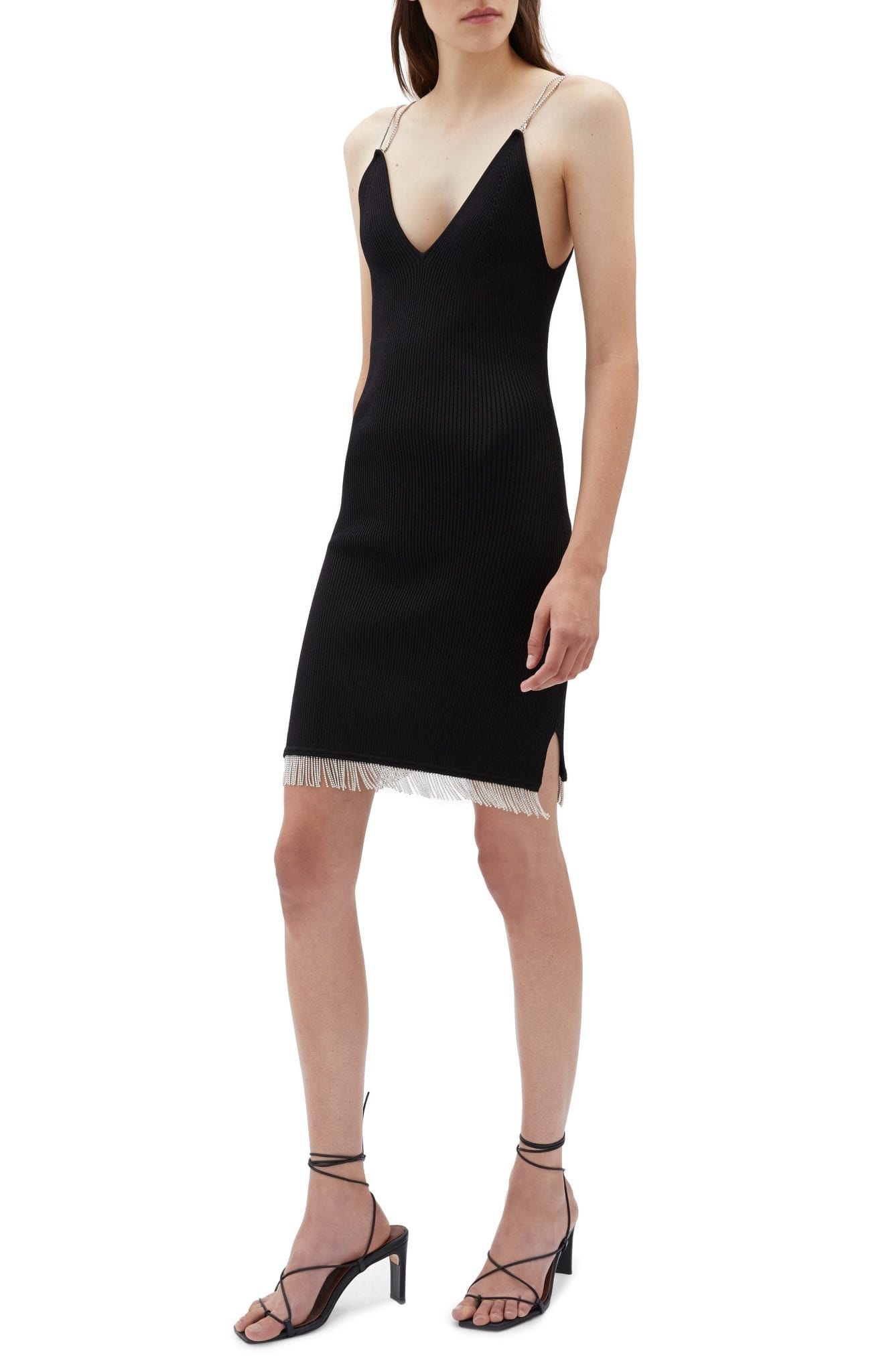JONATHAN SIMKHA Diamonte Ribbed Mini Dress