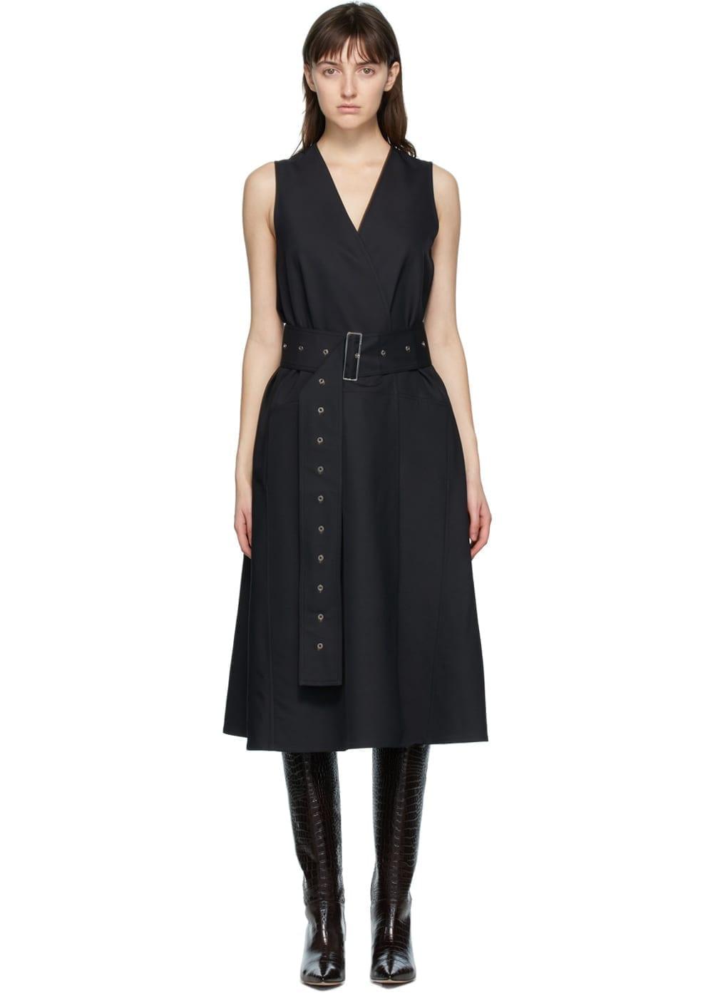 JOSEPH Black Wool Dorail Faille Belted Dress