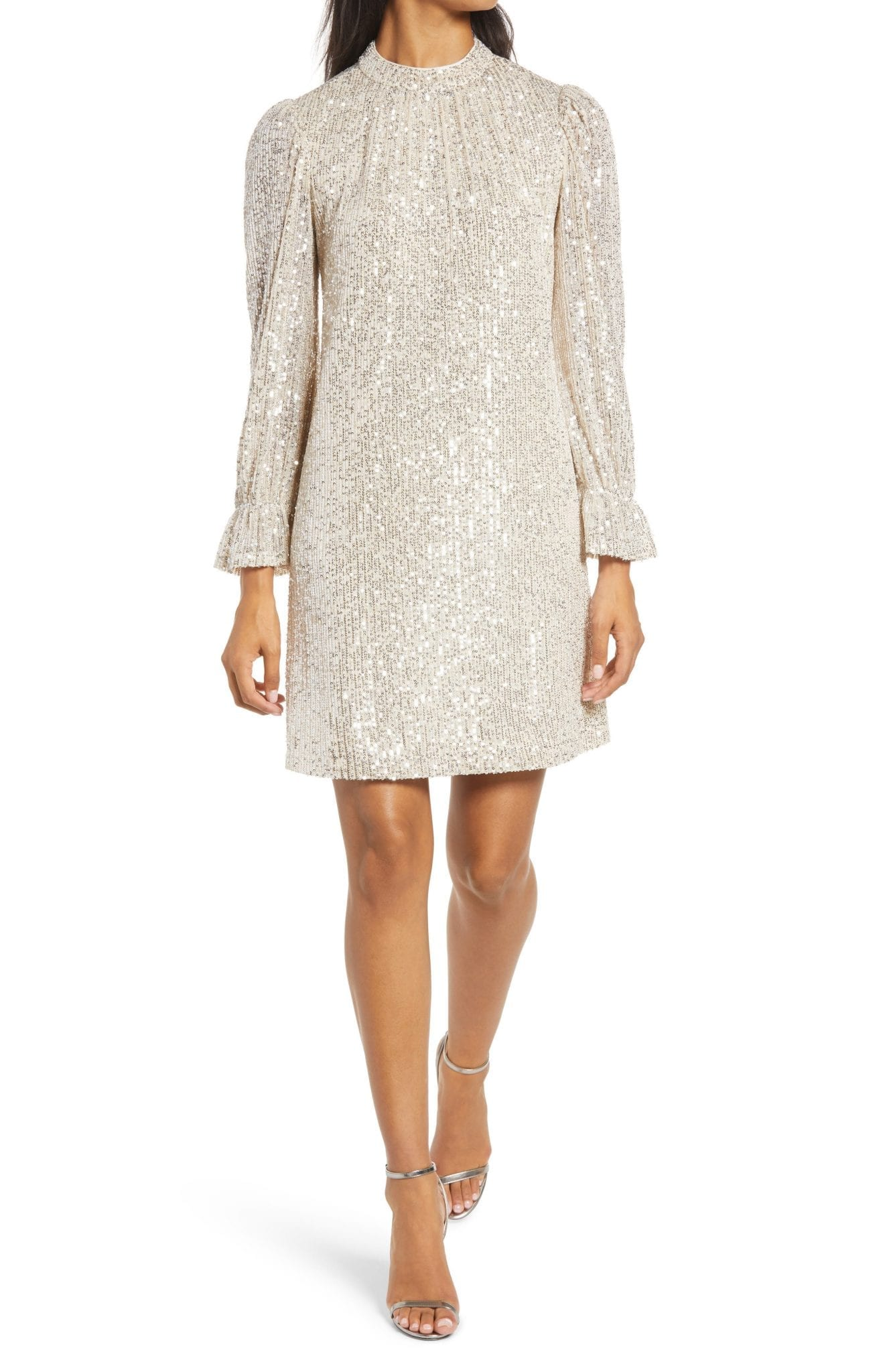 JULIA JORDAN Sequin Long Sleeve Shift Dress