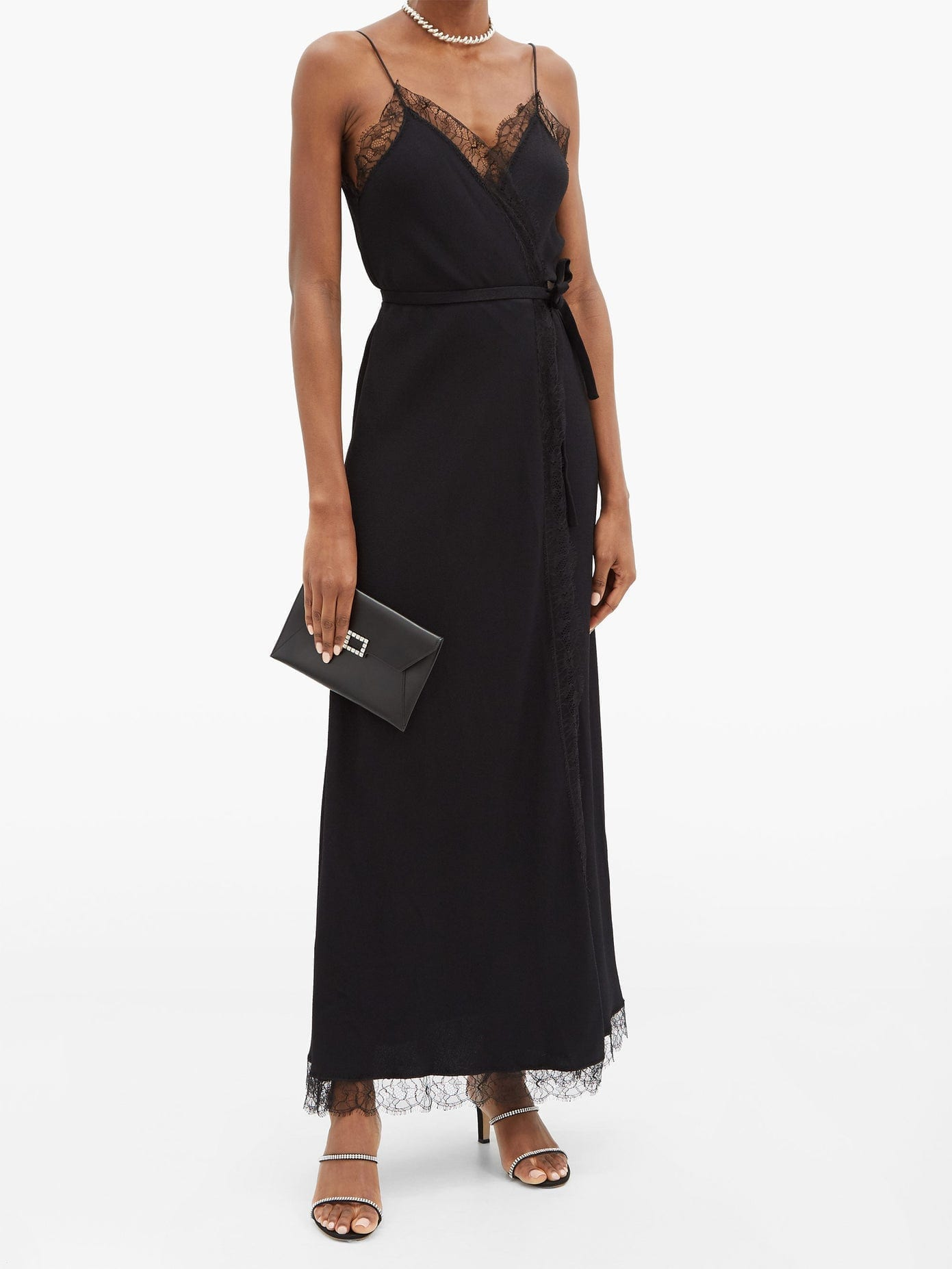 JULIE DE LIBRAN Jane Lace-trimmed Crepe Longline Dress