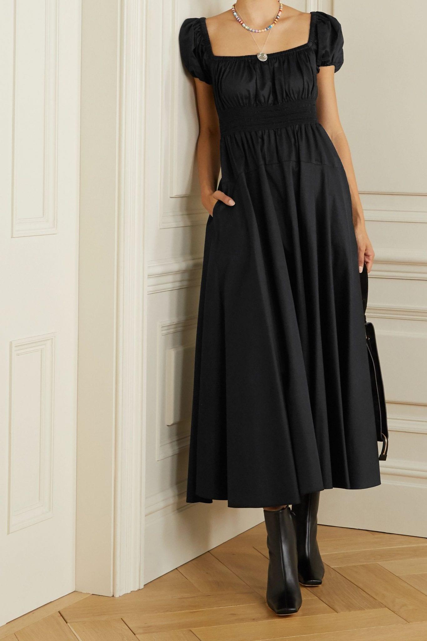 LA LIGNE Amour Open-back Shirred Cotton-poplin Maxi Dress