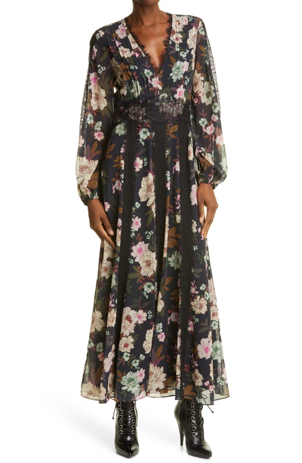 LA LIGNE Floral Print Plunge Neck Long Sleeve Dress