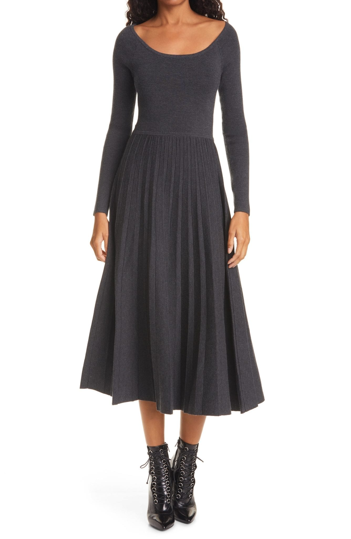 LA LIGNE Long Sleeve Pleated Merino Wool Blend Dress