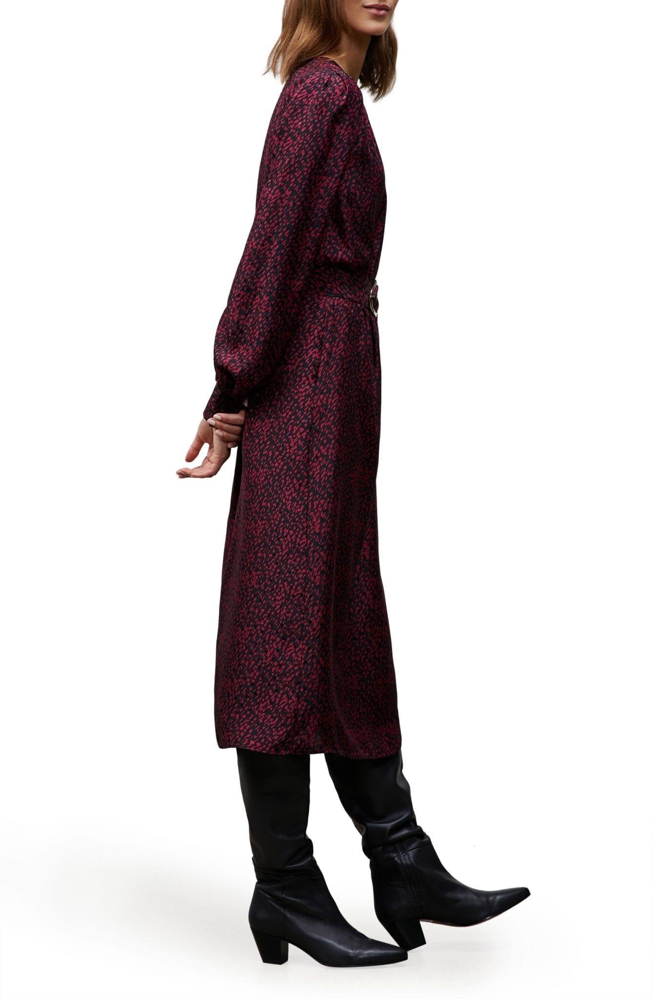 LAFAYETTE 148 NEW YORK Iver Falling Dot Print Long Sleeve Silk Midi Dress