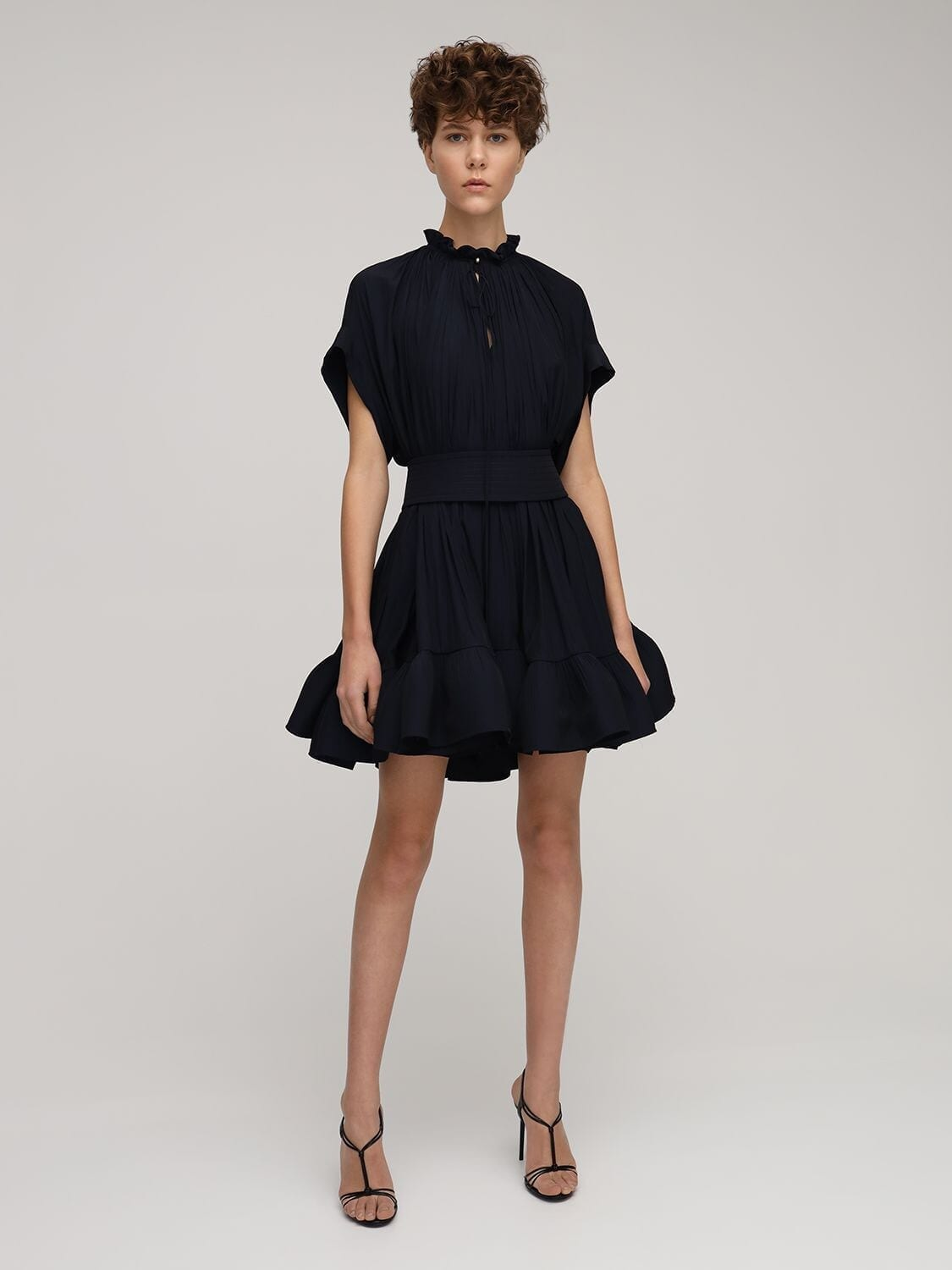 LANVIN Ruffled Cape Mini Dress