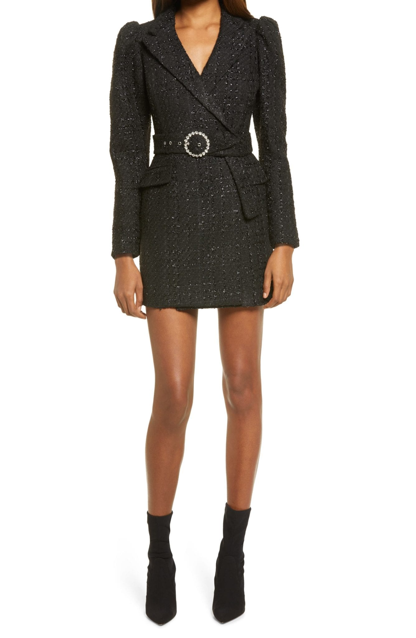 LAVISH ALICE Puff Long Sleeve Bouclé Blazer Dress