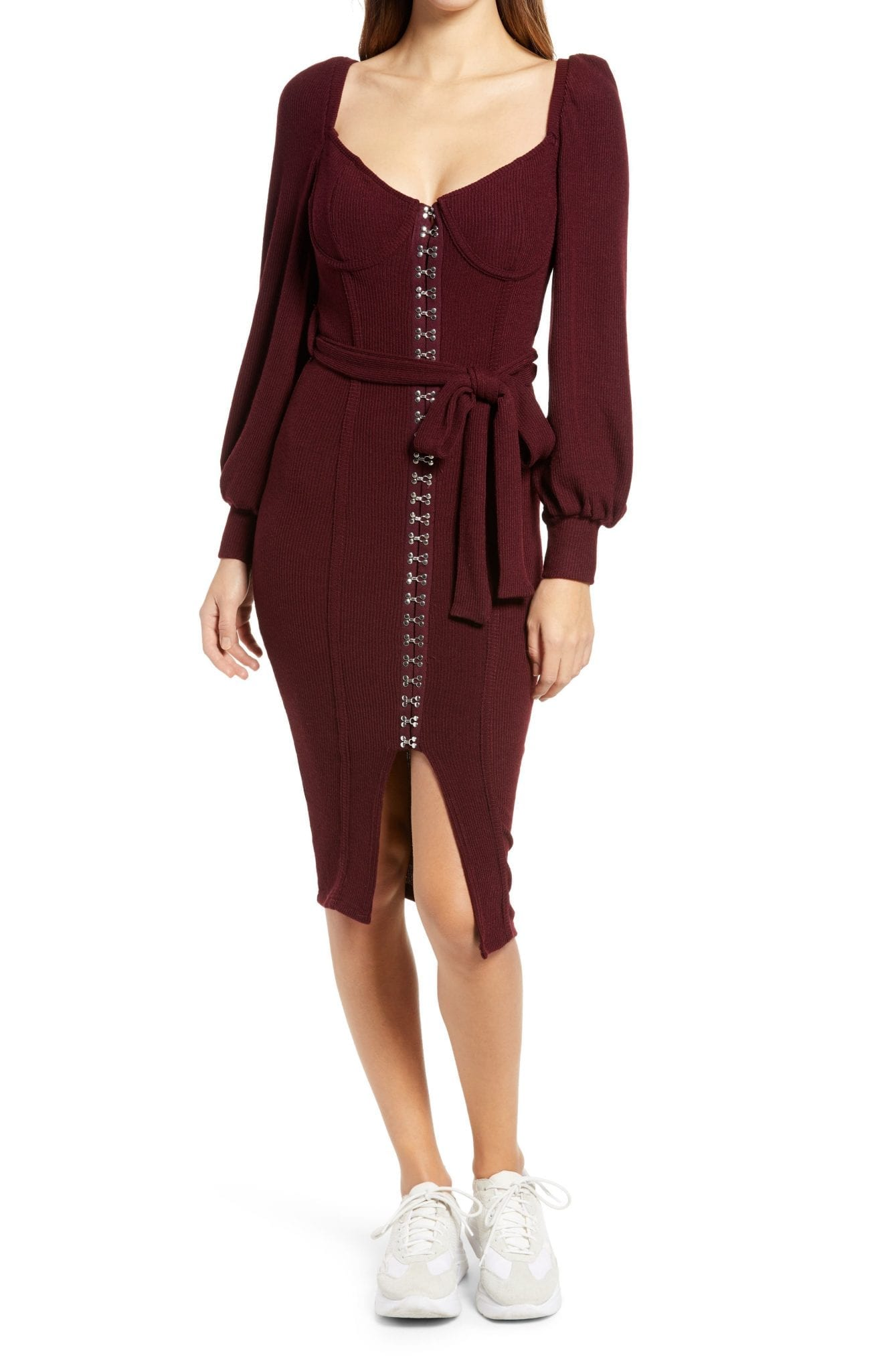 LAVISH ALICE Rib Knit Balloon Sleeve Midi Dress
