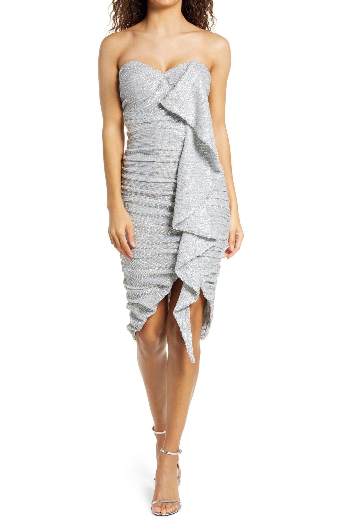 LAVISH ALICE Ruched Sequin Ruffle Dress