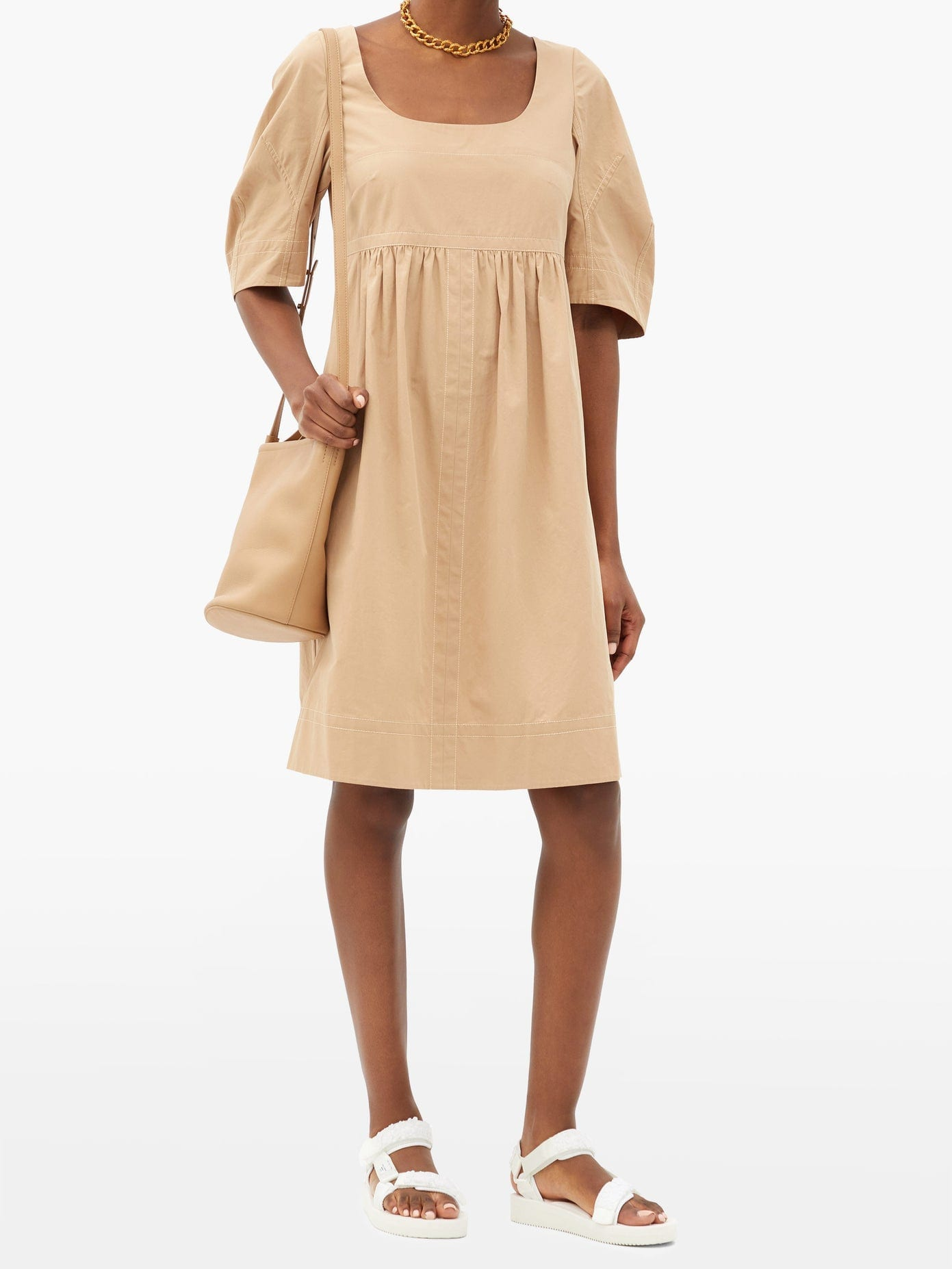 LEE MATHEWS May Square-neck Topstitched Cotton Dress