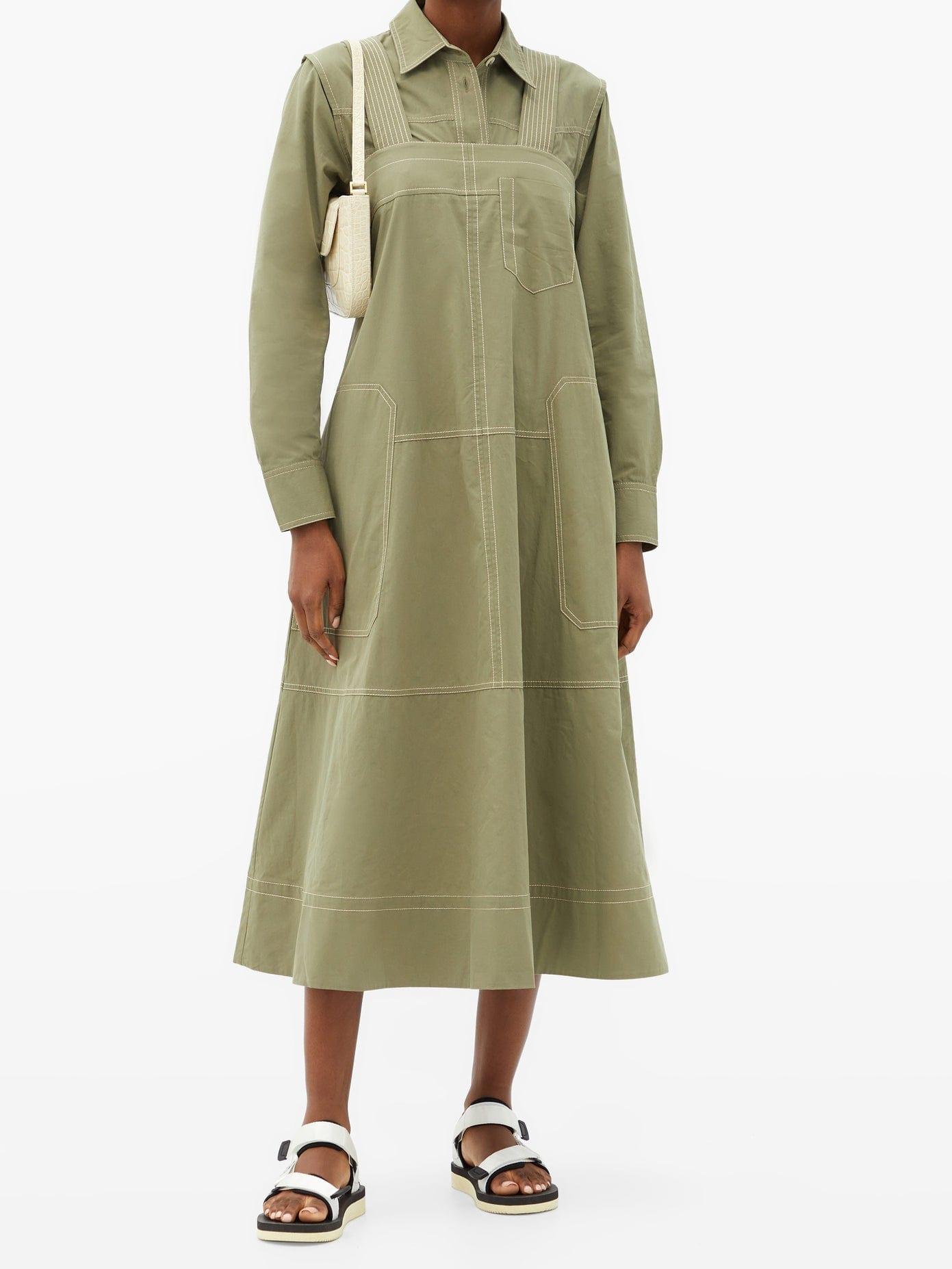 LEE MATHEWS May Topstitched Cotton Dress