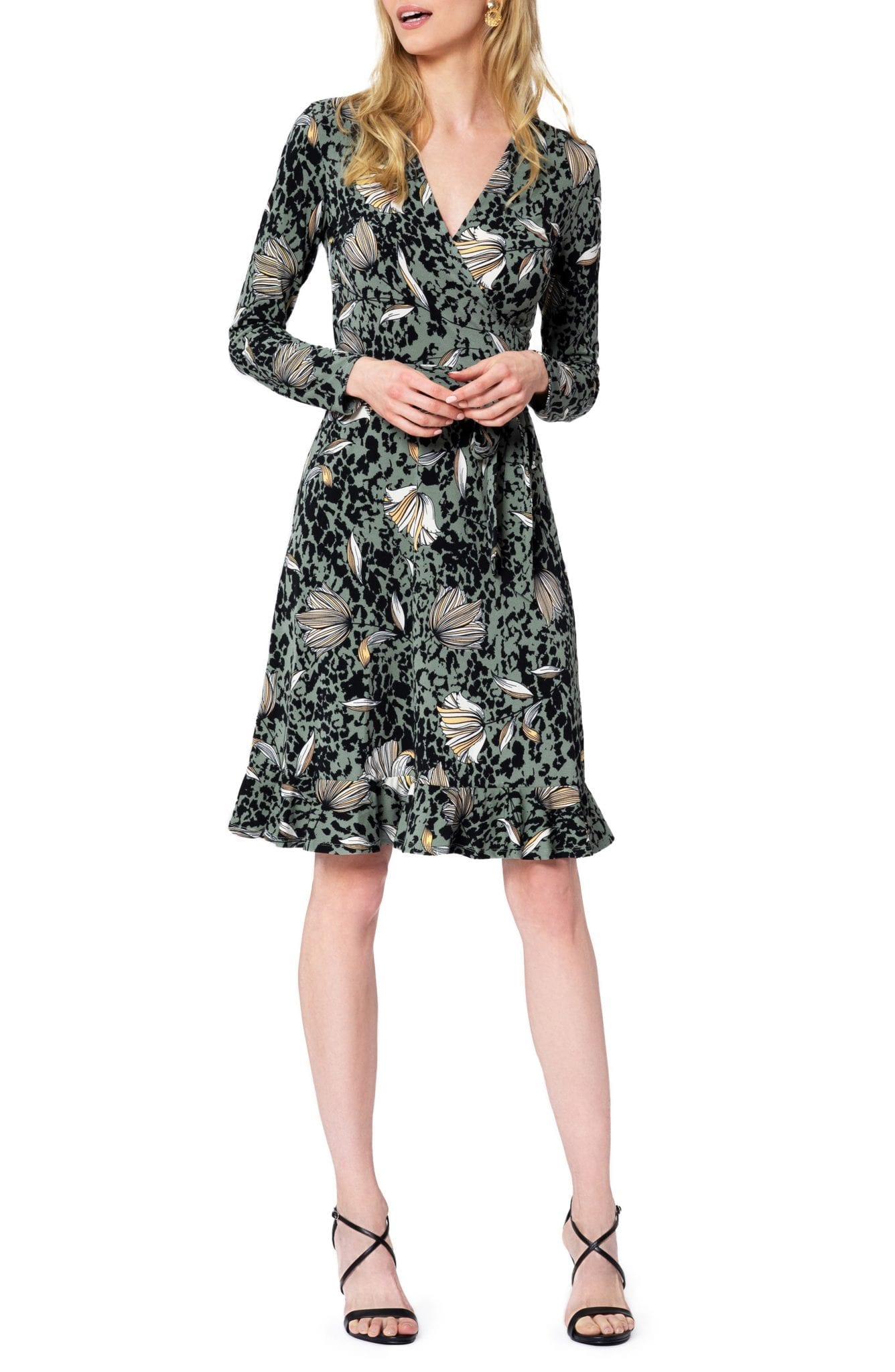 LEOTA Floral Long Sleeve Faux Wrap Dress