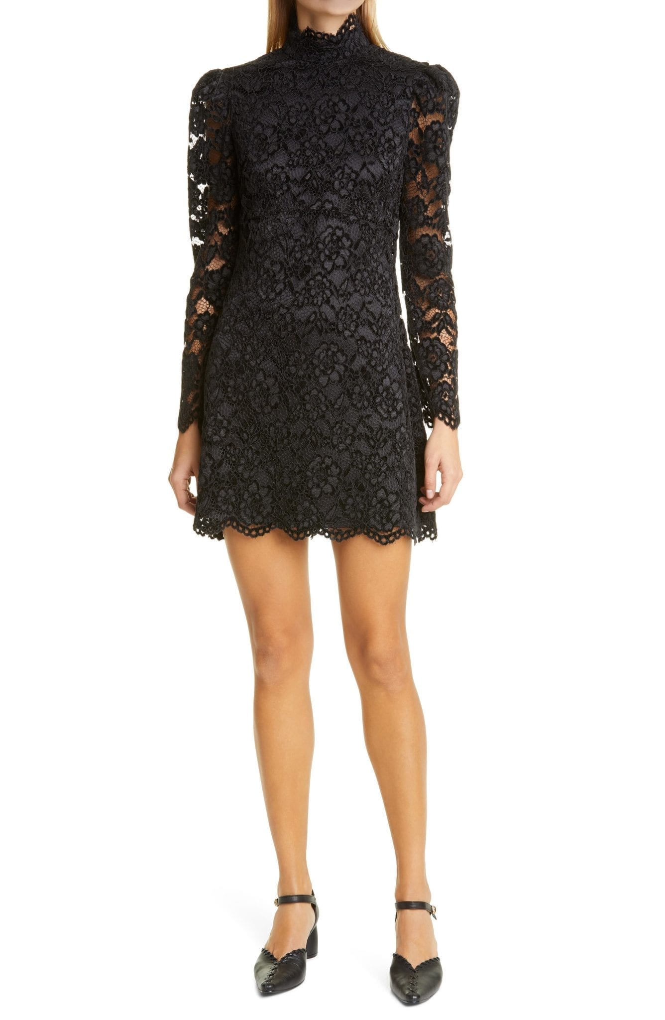 LIKELY Cupani Lace Long Sleeve Mini Dress