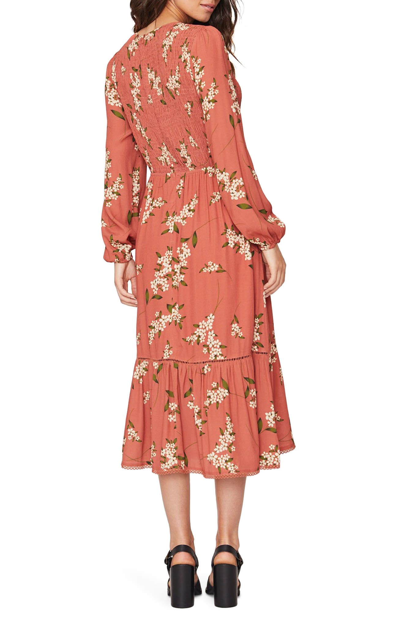 LOST + WANDER Champagne At the Palace Floral Smocked Long Sleeve Midi Dress