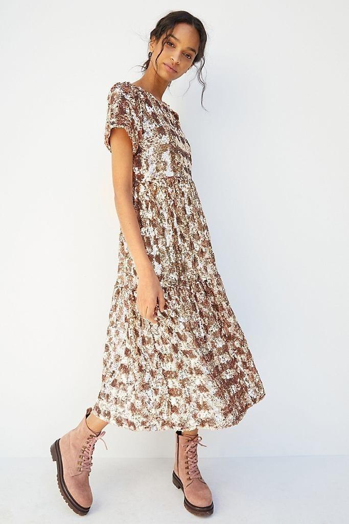 MAEVE Bernadette Sequined Midi Dress