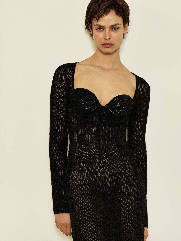 MAGDA BUTRYM Sweetheart Stretch Jersey Midi Dress