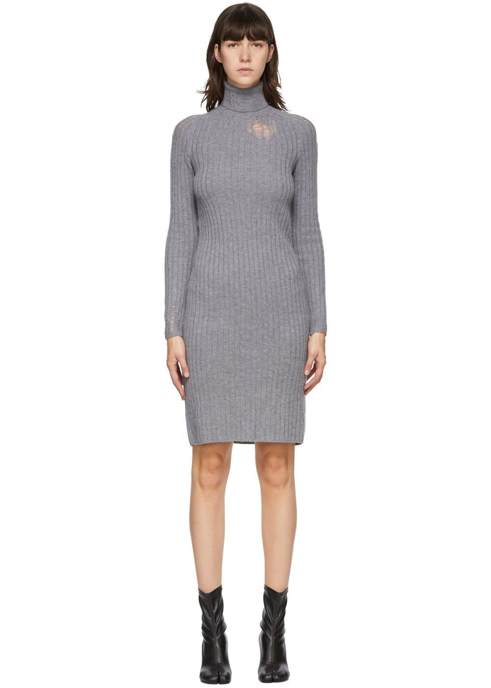 MAISON MARGIELA Grey Destroyed Turtleneck Dress