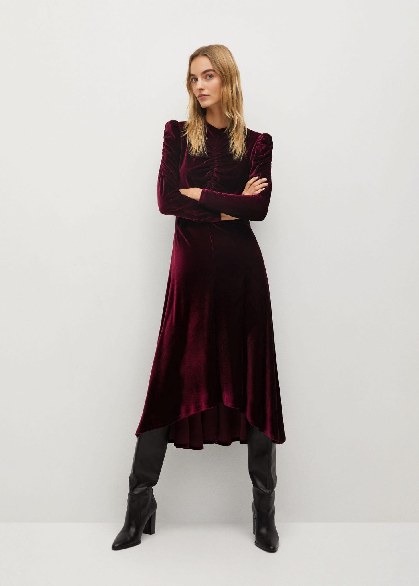 MANGO Asymmetric Velvet Dress