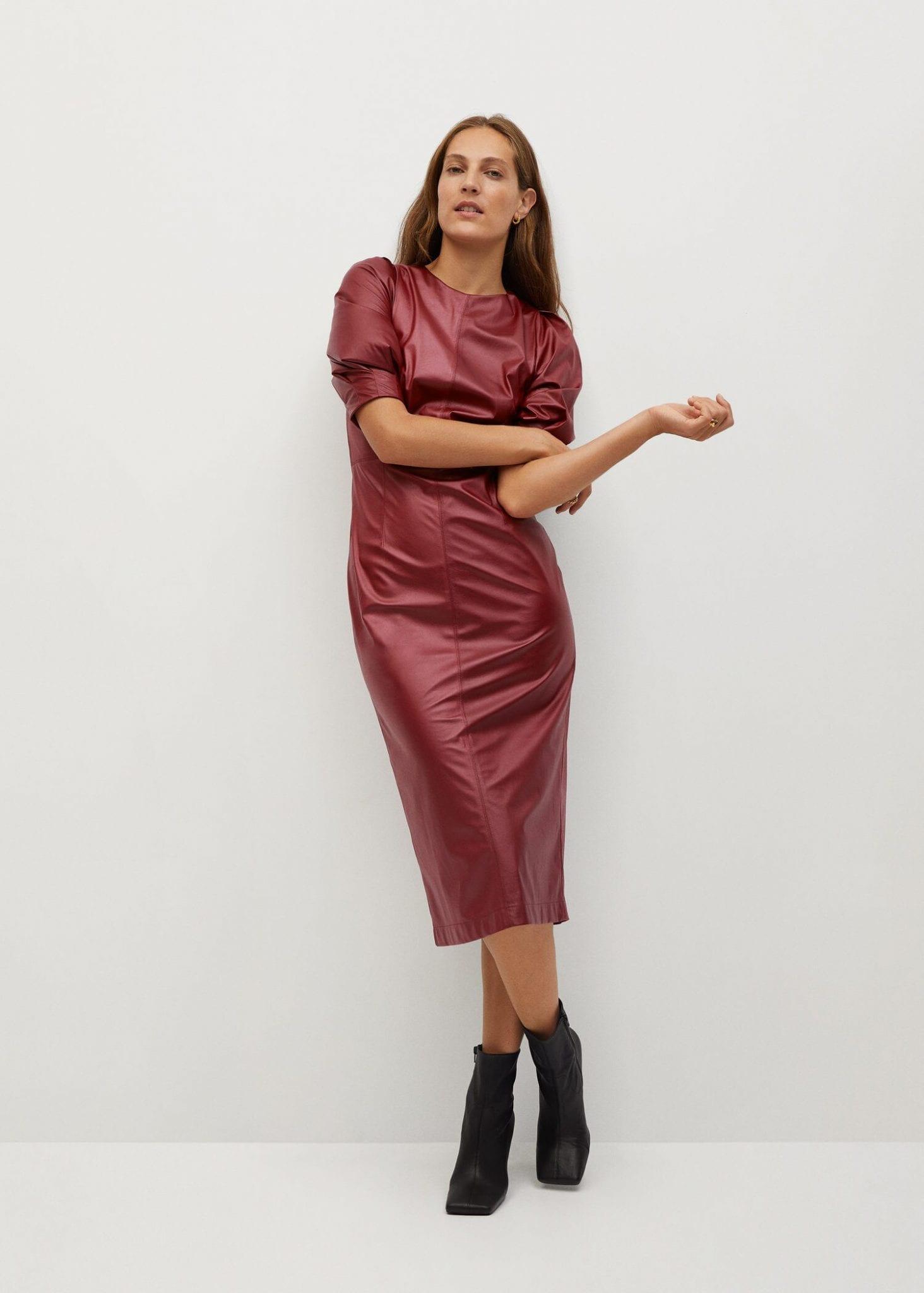 MANGO Faux-leather Dress