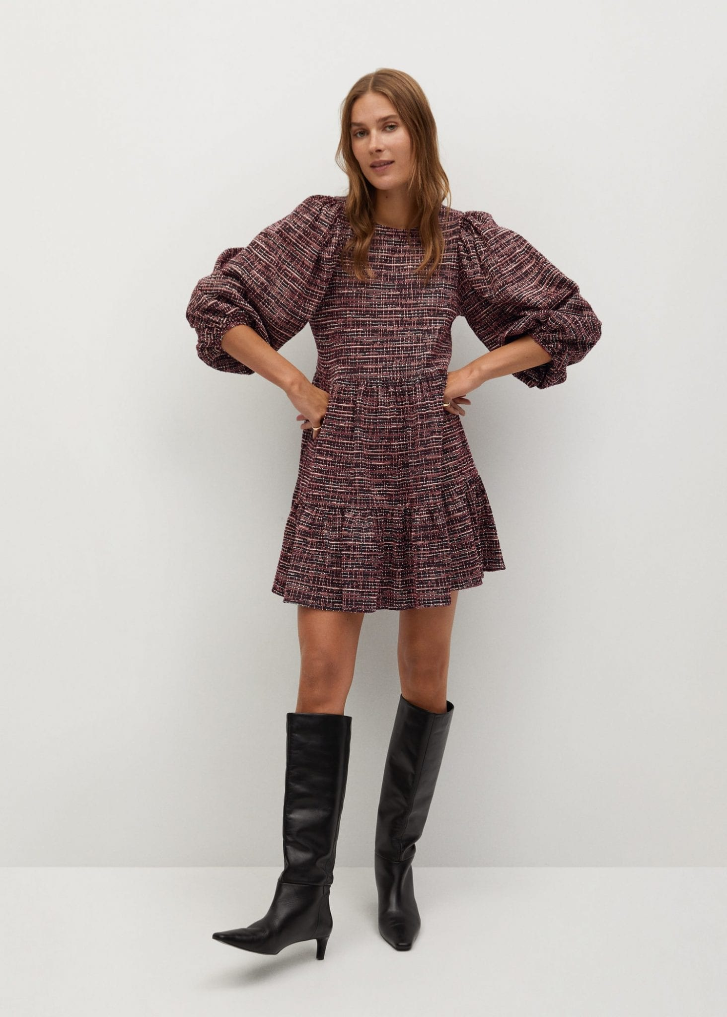 MANGO Puffed Sleeves Texture Dress