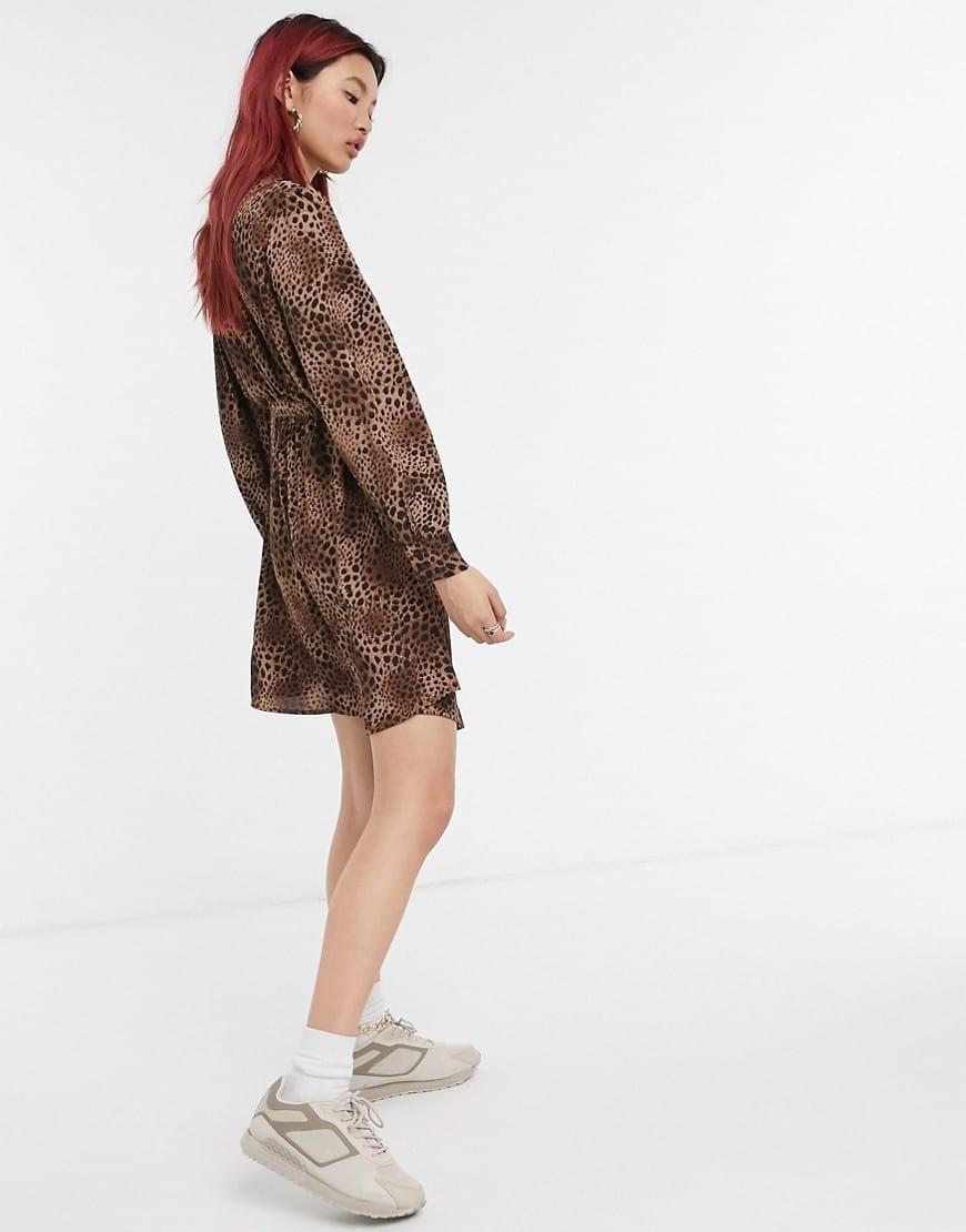 MANGO Tie Waist Mini Dress