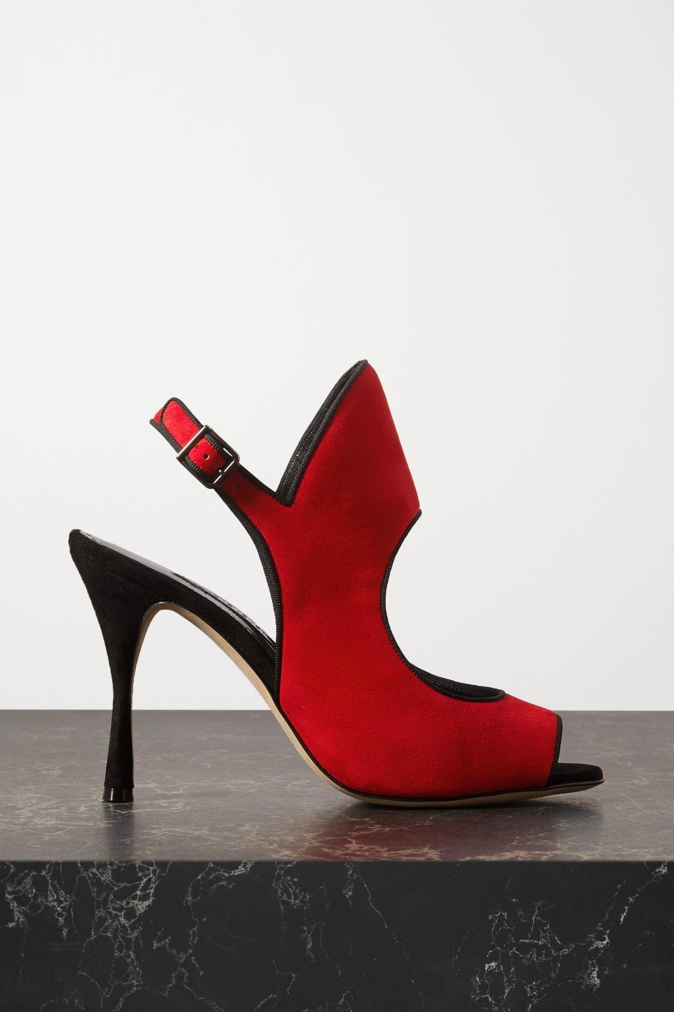 MANOLO BLAHNIK Gloriana Cutout Suede Sandals