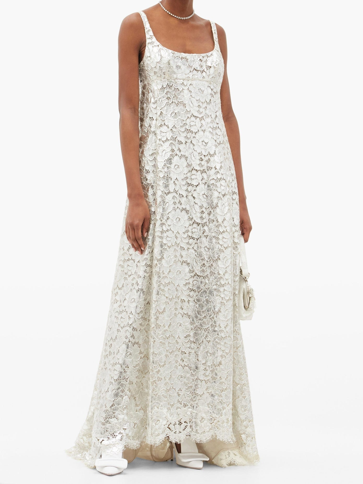 MARC JACOBS RUNWAY Scoop-neck Cape-back Metallic Lace Gown