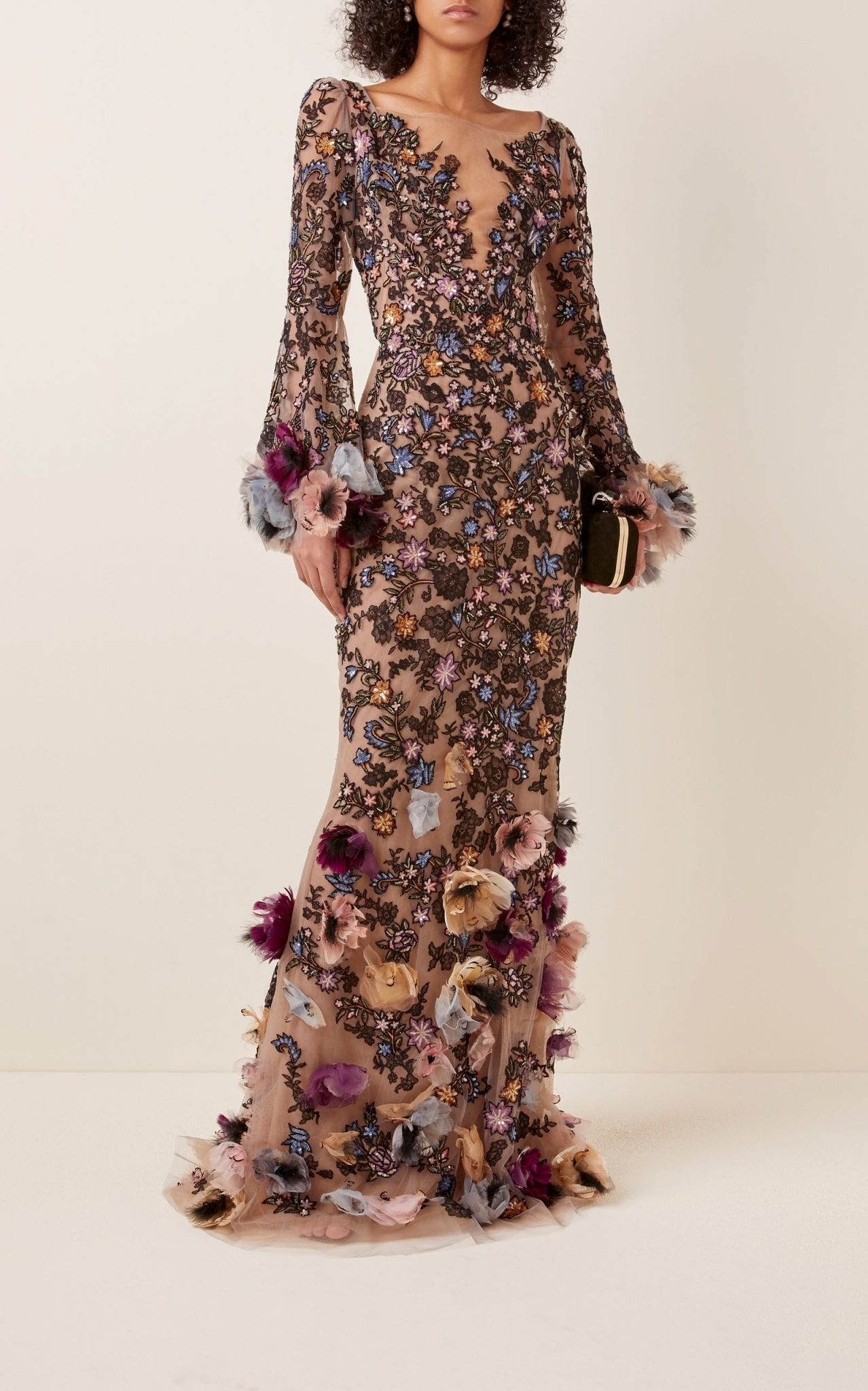 MARCHESA Floral-Appliquéd Embroidered-Tulle Gown