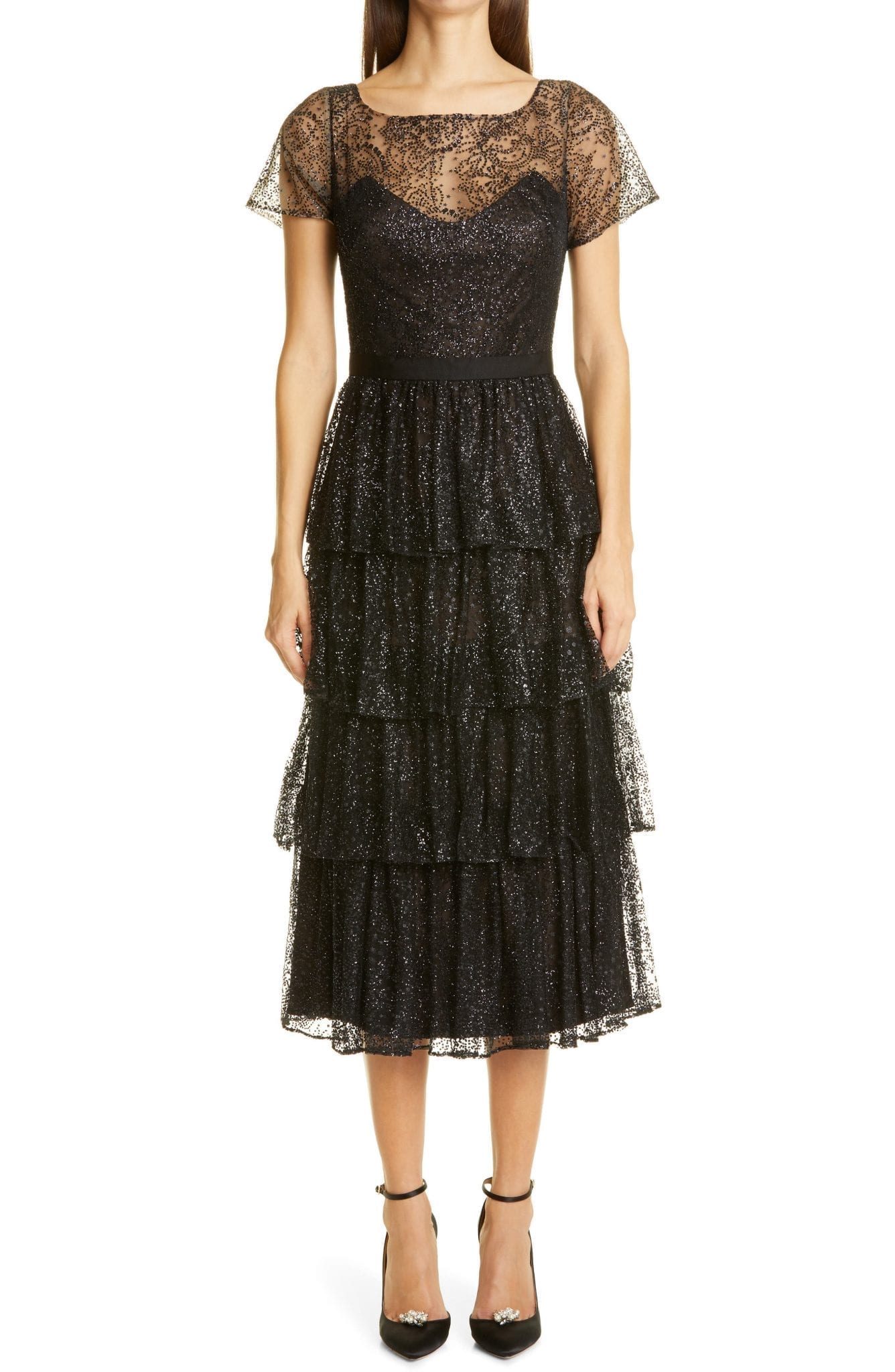 MARCHESA NOTTE Cap Sleeve Tulle Gown