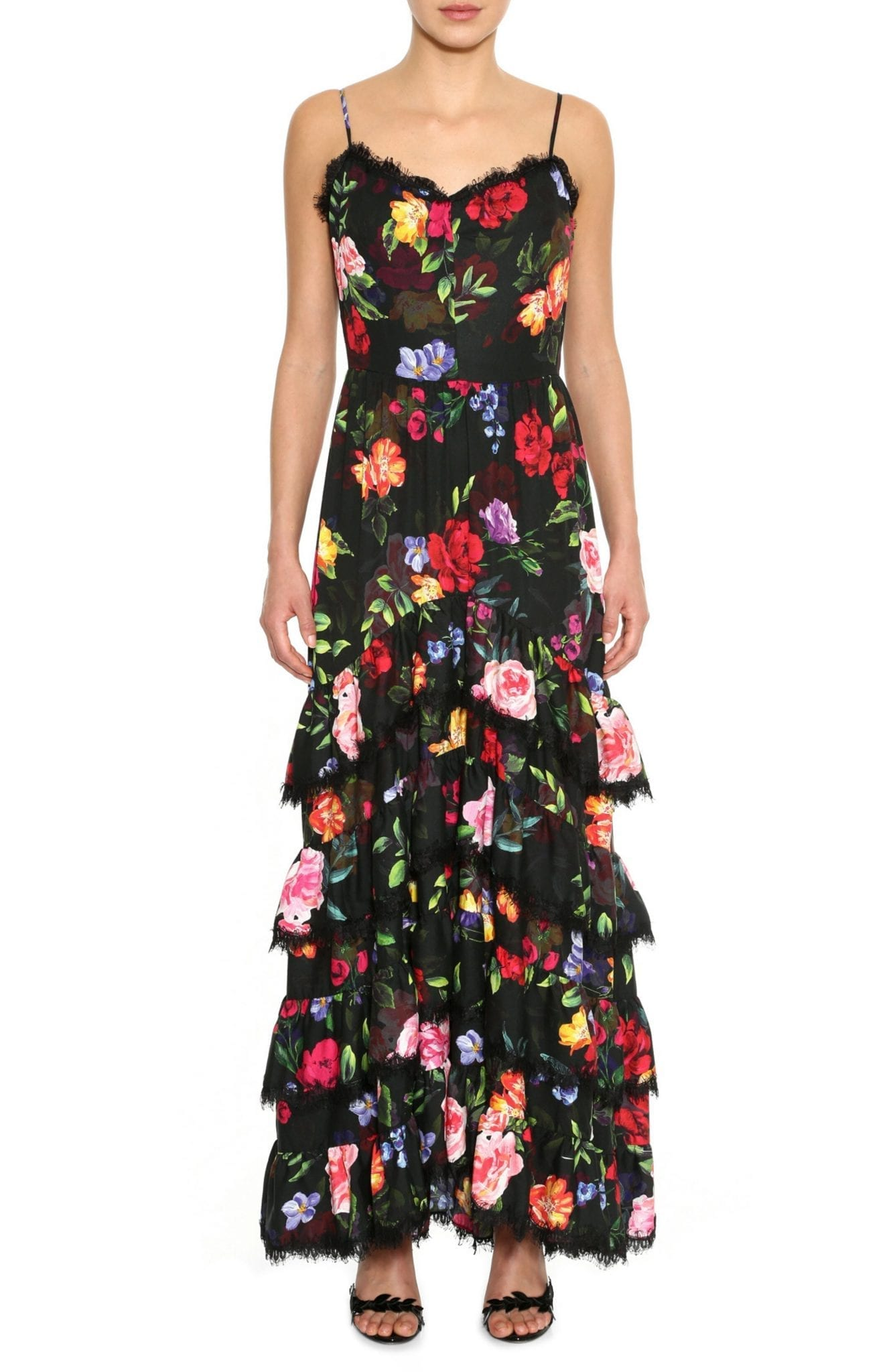 MARCHESA NOTTE Floral Print Crepe Maxi Dress