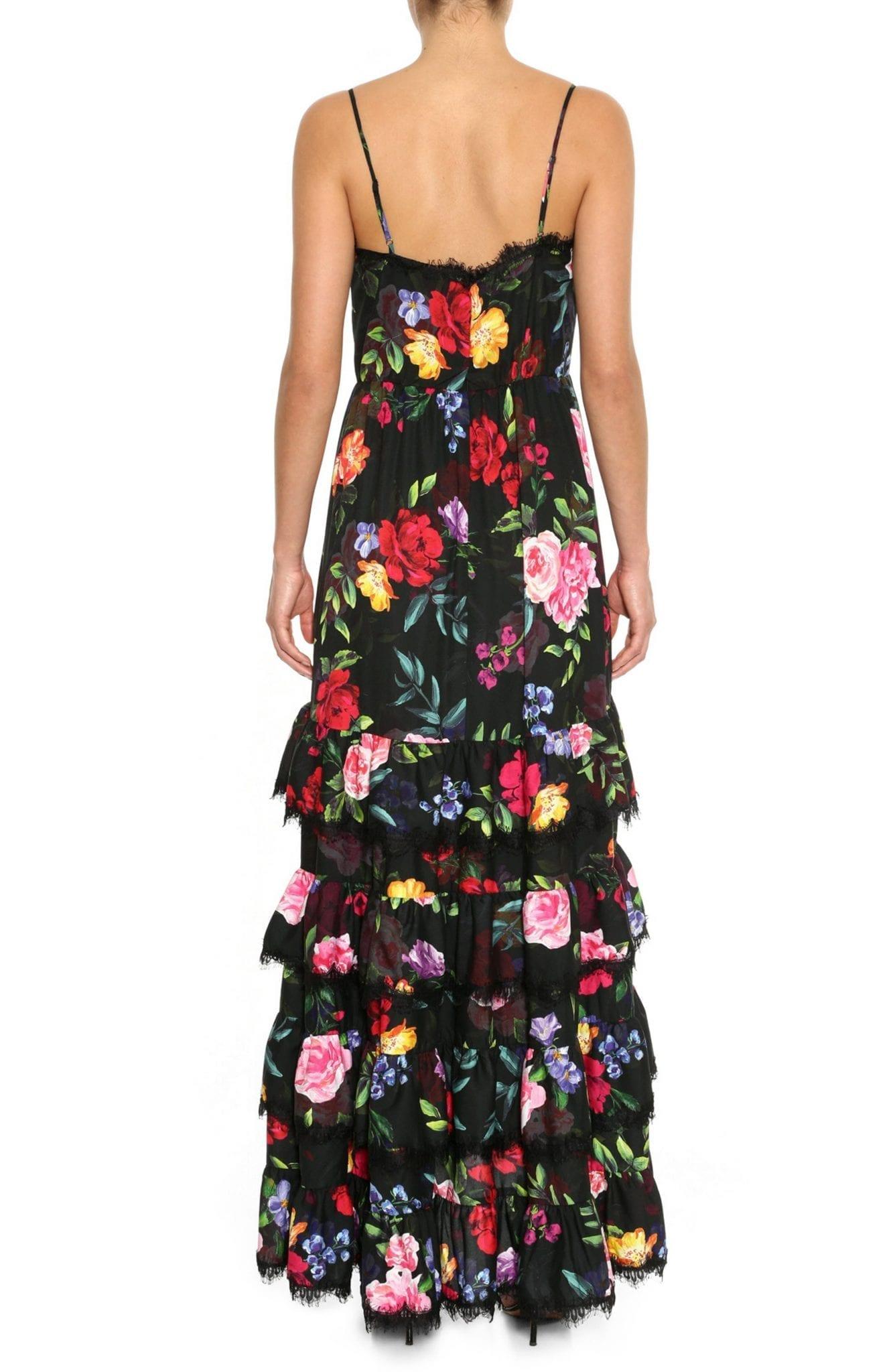 MARCHESA NOTTE Floral Print Crepe Maxi Dress