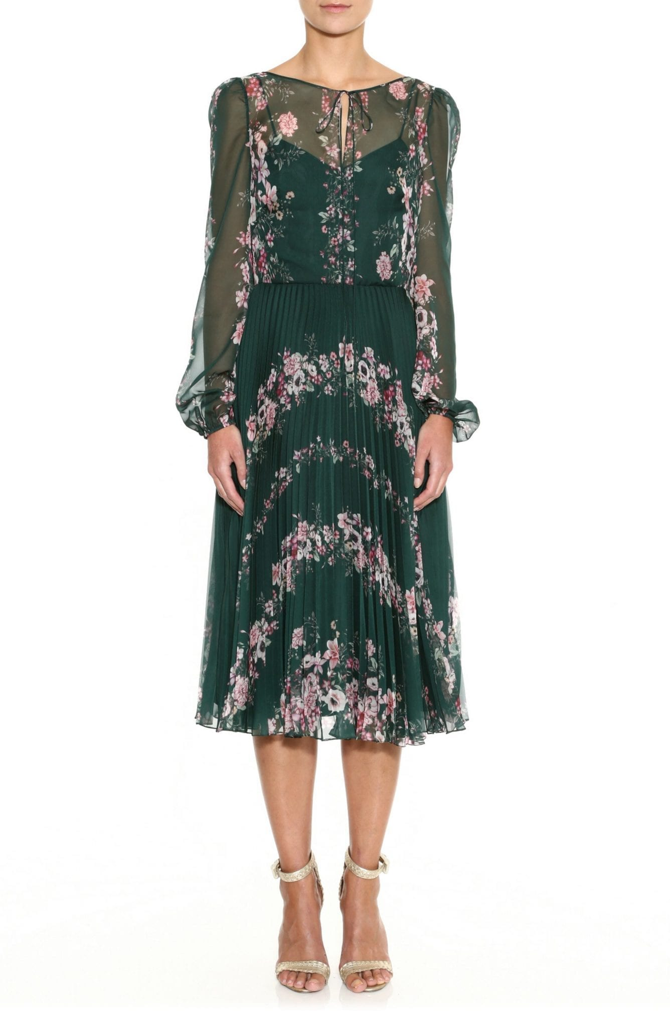 MARCHESA NOTTE Floral Print Long Sleeve Pleated Chiffon Dress