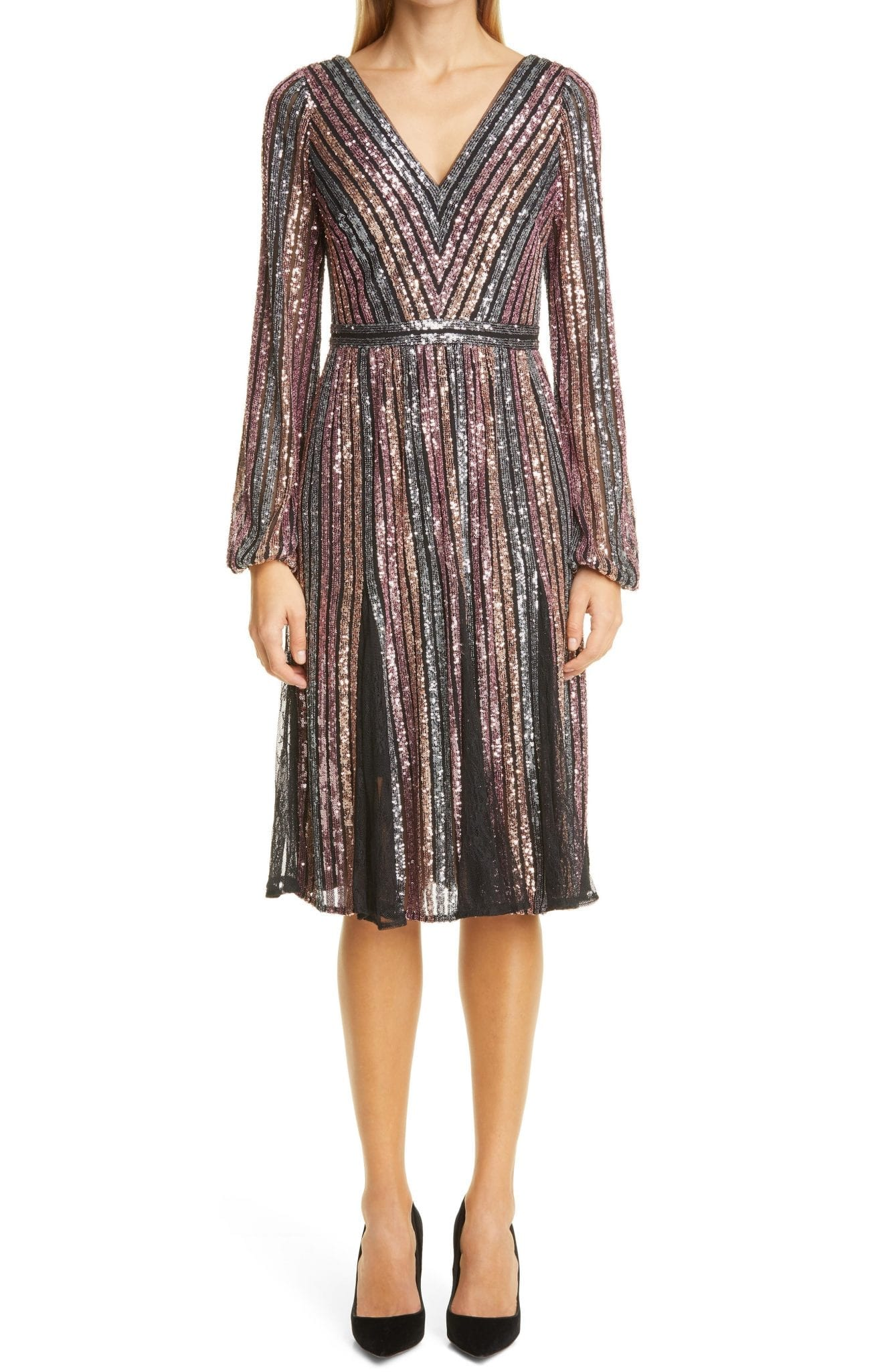 MARCHESA NOTTE Sequin Stripe Long Sleeve Cocktail Dress