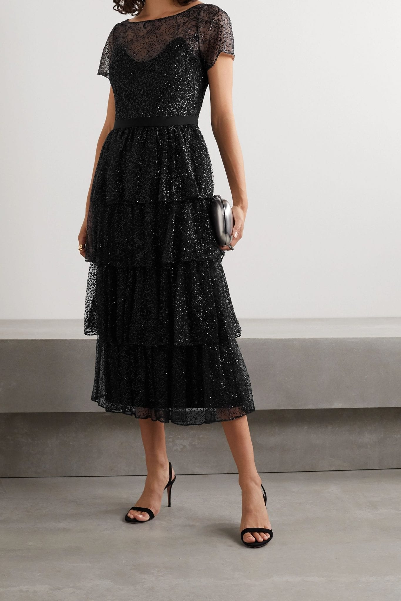 MARCHESA NOTTE Tiered Glittered Tulle Midi Dress