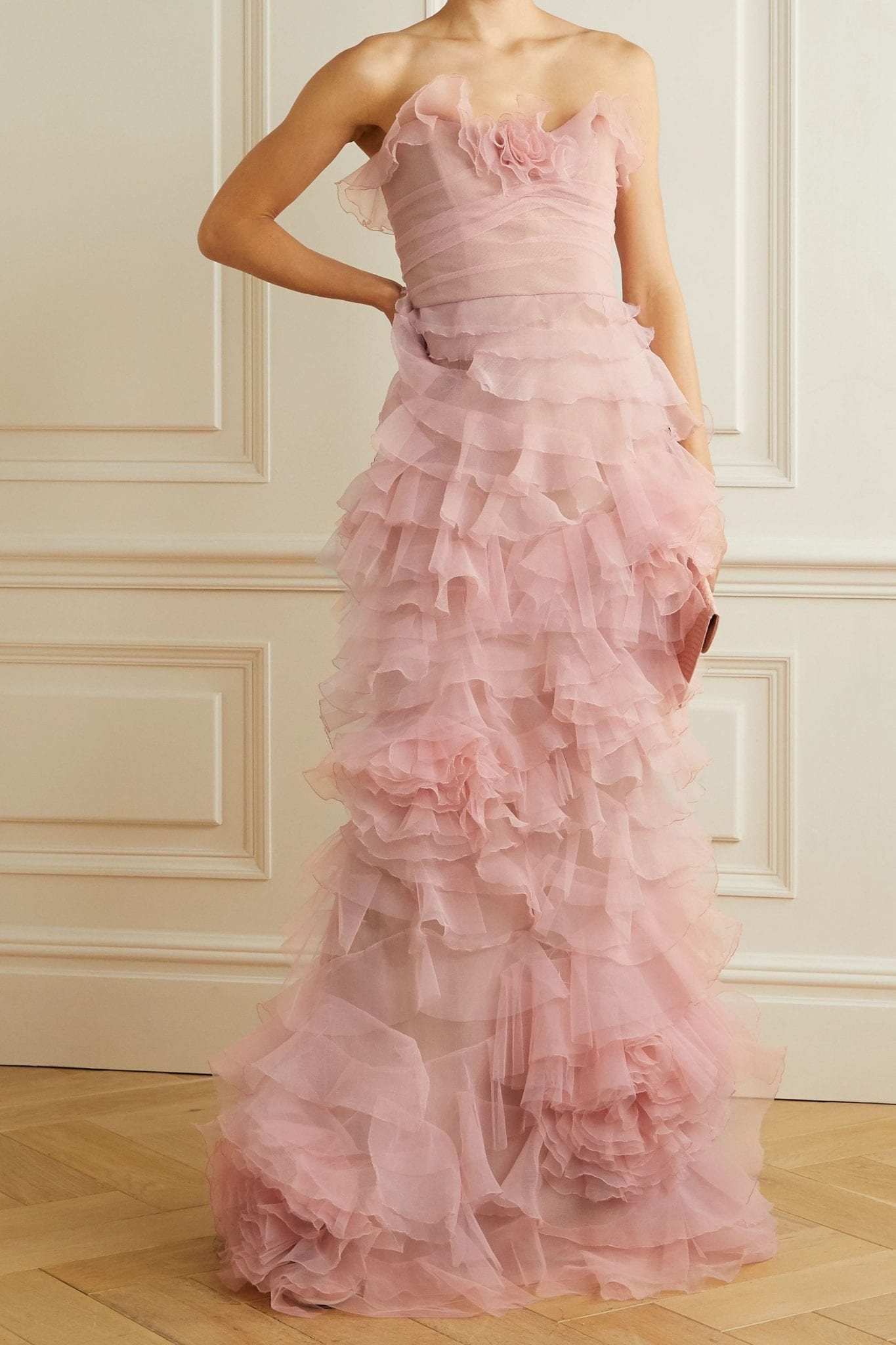 MARCHESA Strapless Ruffled Organza And Tulle Gown