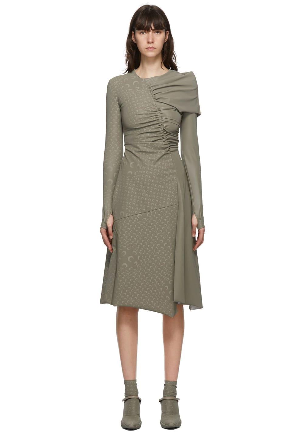 MARINE SERRE Taupe Gathered Asymmetric Dress