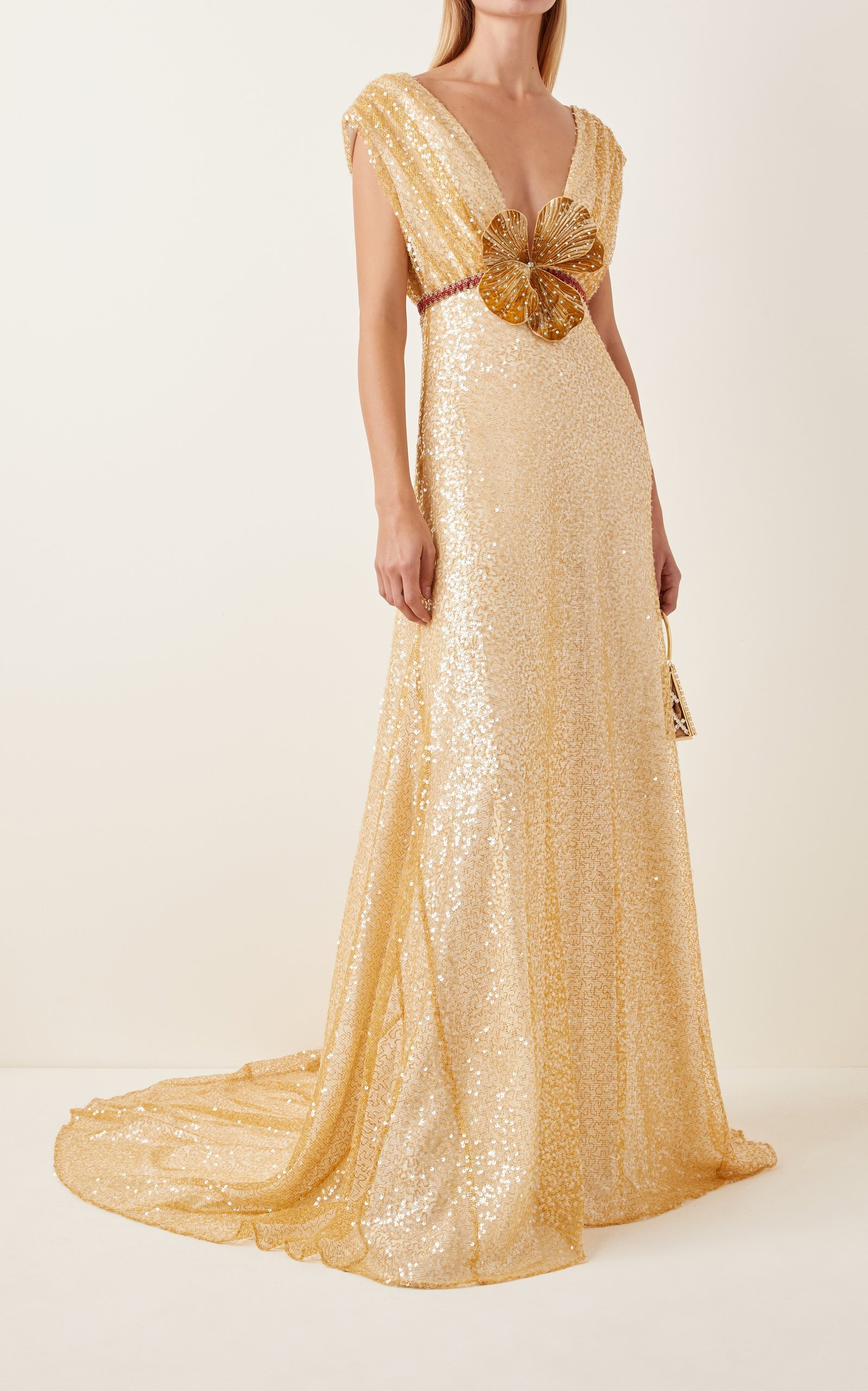 MARKARIAN Crystal-Embellished Embroidered Chiffon Gown