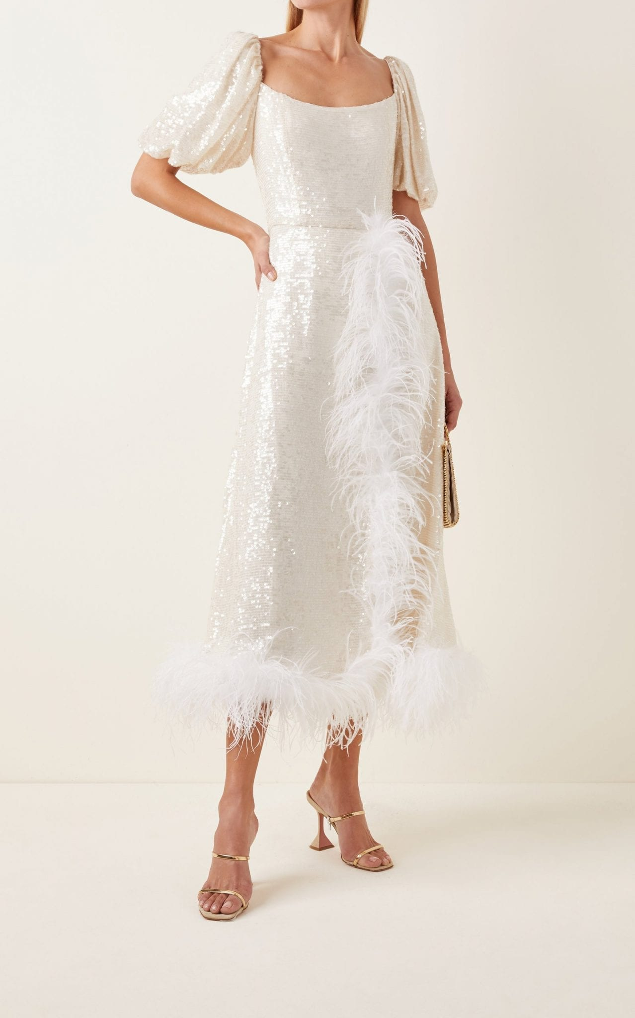 MARKARIAN Feather-Trimmed Sequined Midi Dress