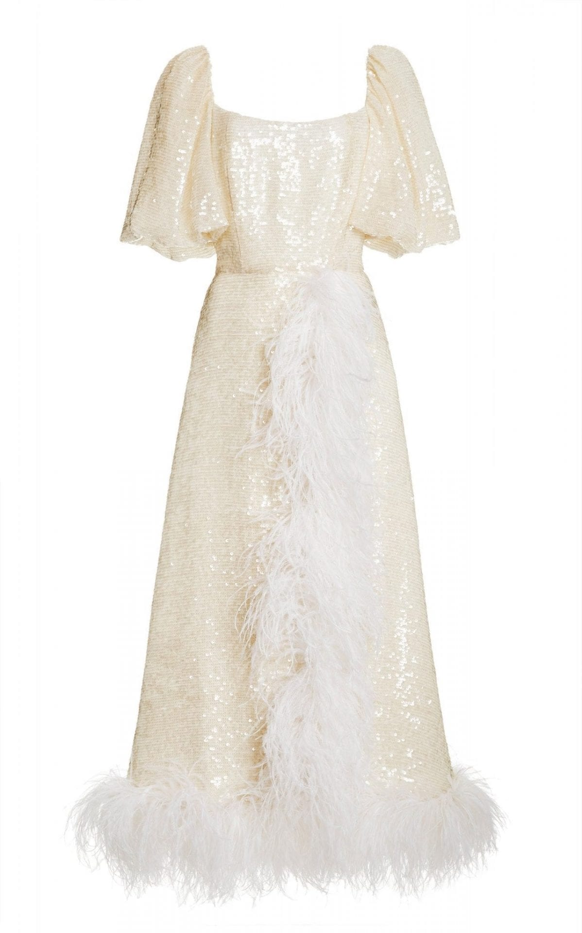 MARKARIAN Ostrich Feather-Embellished Sequin Puff Sleeve Wrap Dress