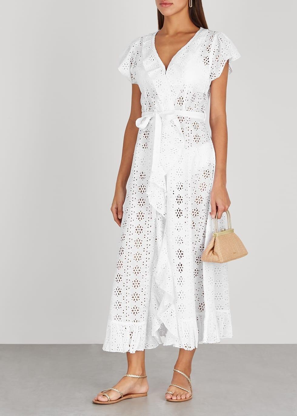 MELISSA ODABASH Brianna White Broderie Anglaise Wrap Dress