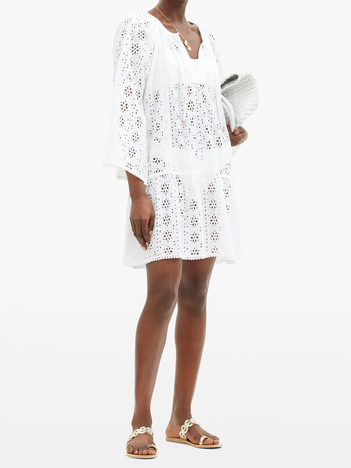 MELISSA ODABASH Corina Broderie-anglaise Cotton Dress