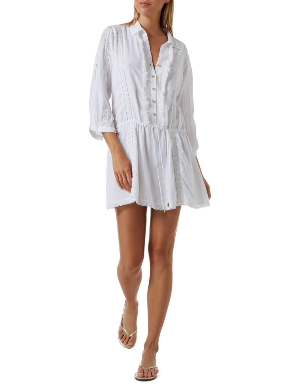 MELISSA ODABASH Scarlett Lace Trim Shirt Dress