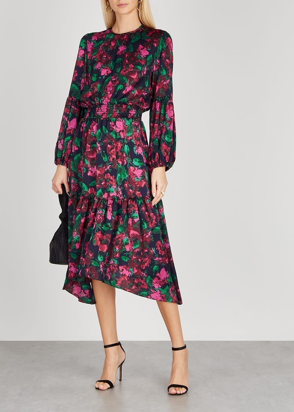 MISA Simone Floral-print Satin Midi Dress
