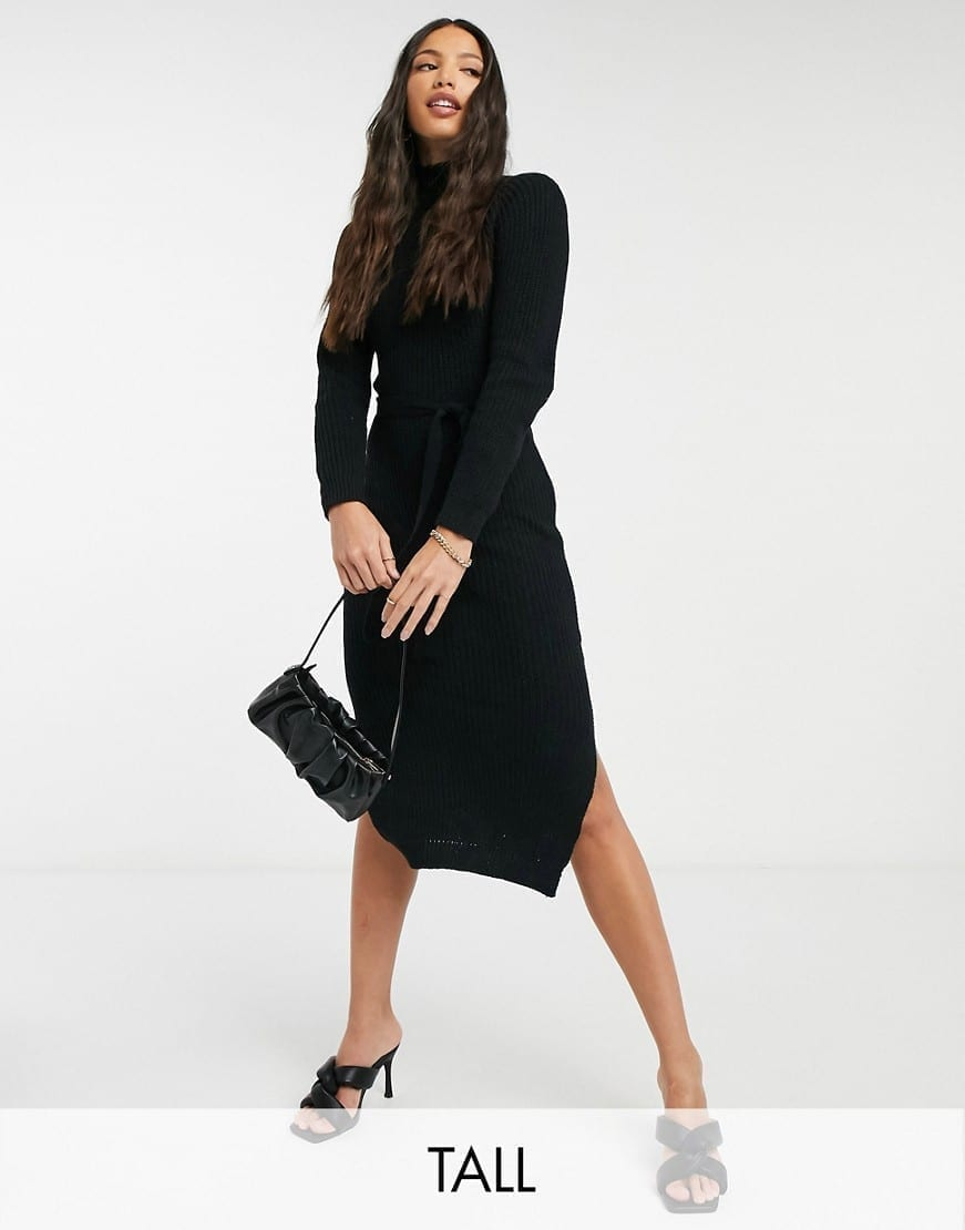 MISSGUIDED Tall High Neck Belted Maxi Dress